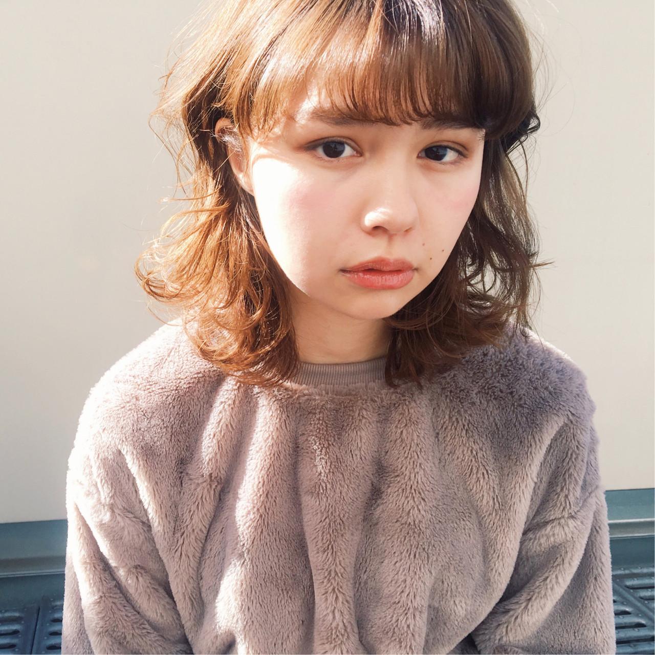 ミディアムヘアー モテボブ 艶髪 ミディアムレイヤー ヘアスタイルや髪型の写真・画像