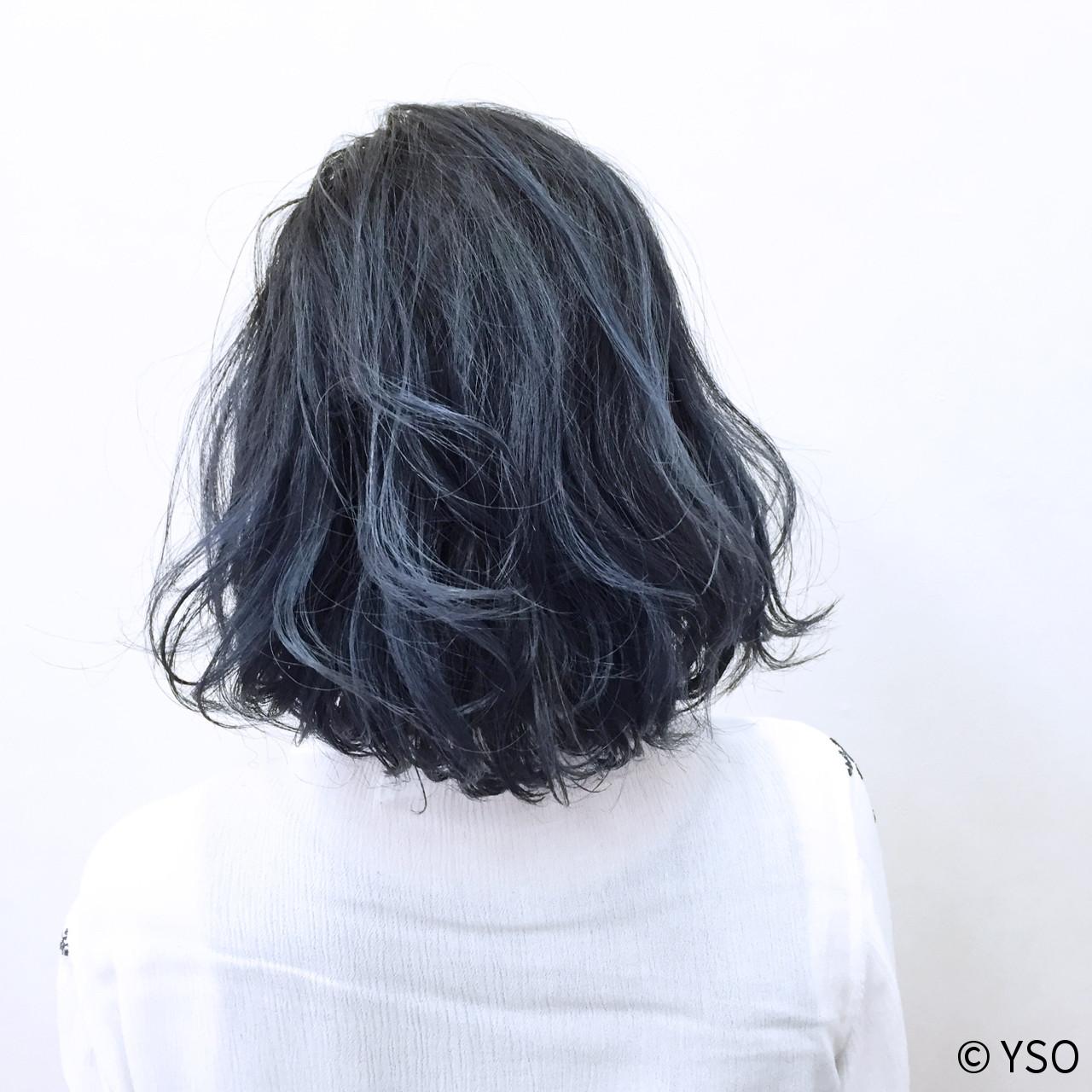 グラデーションカラー 外国人風 ボブ 暗髪 ヘアスタイルや髪型の写真・画像 | YSO / 電髪倶楽部street