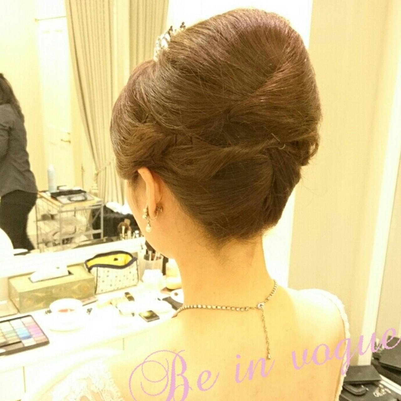 夜会巻 ブライダル 結婚式 ヘアアレンジ ヘアスタイルや髪型の写真・画像