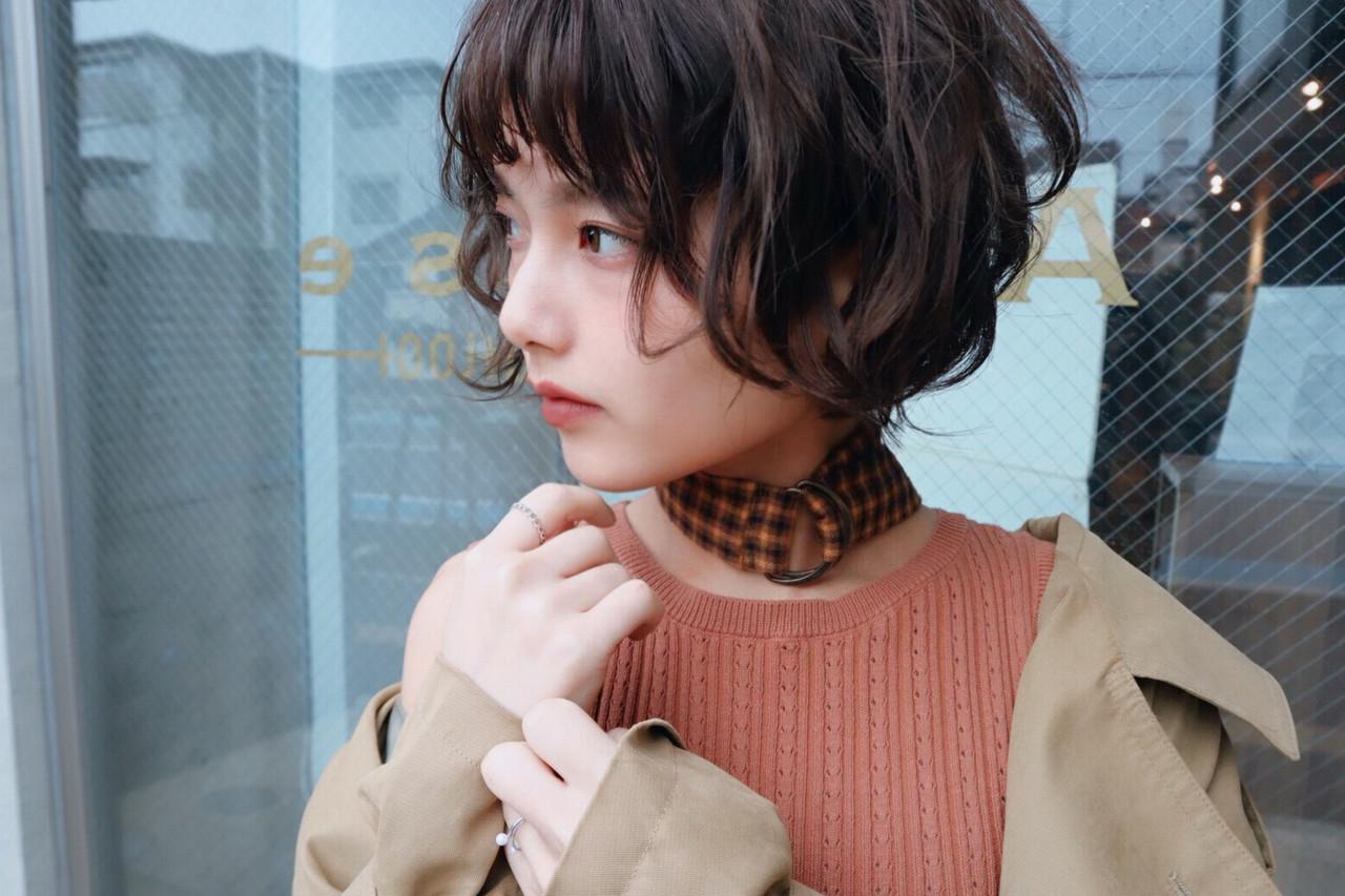モード デート パーマ ショート ヘアスタイルや髪型の写真・画像 | tomo. /