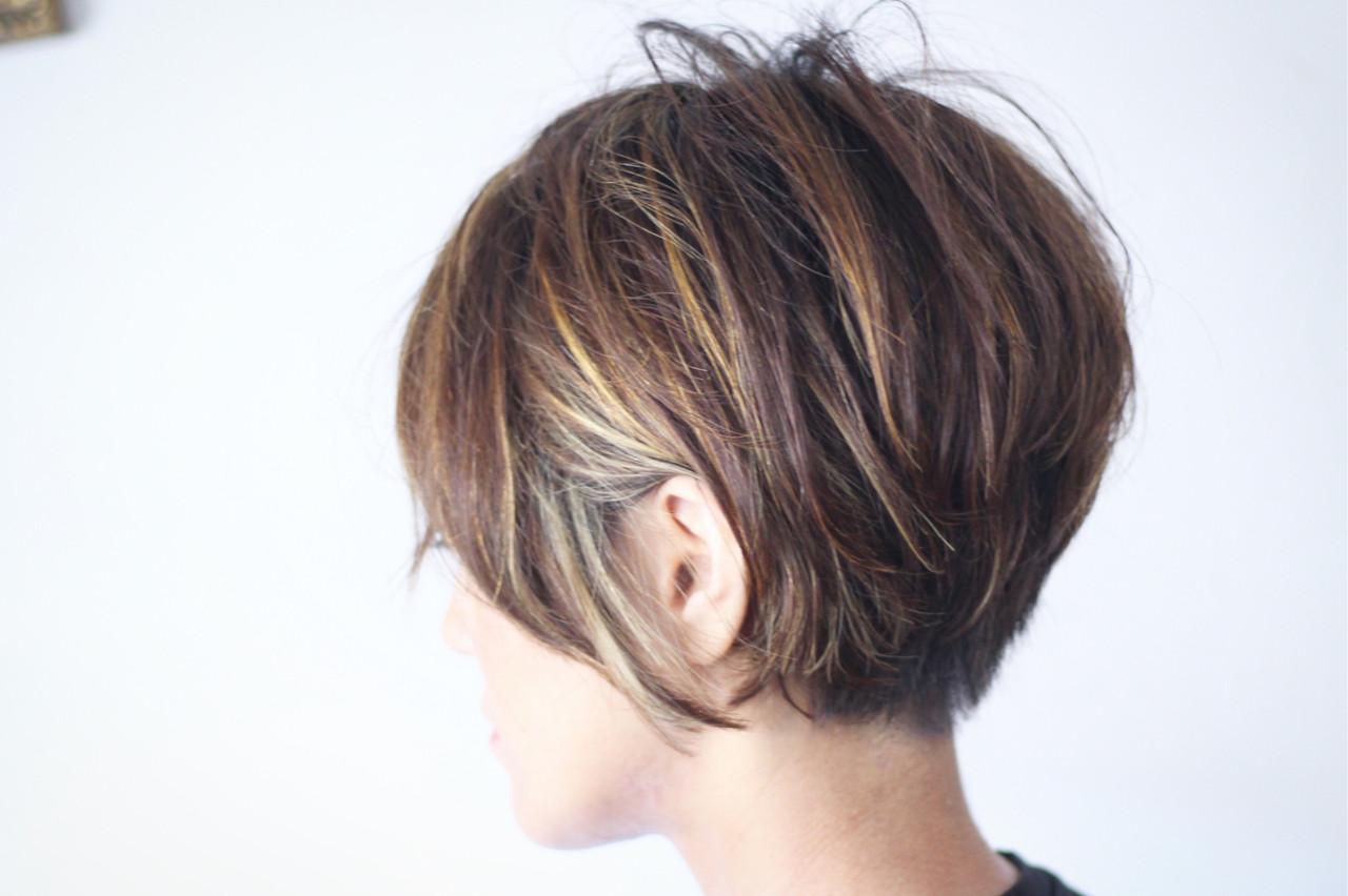 ベリーショート ナチュラル ハイライト 3Dハイライト ヘアスタイルや髪型の写真・画像 | creap / creap