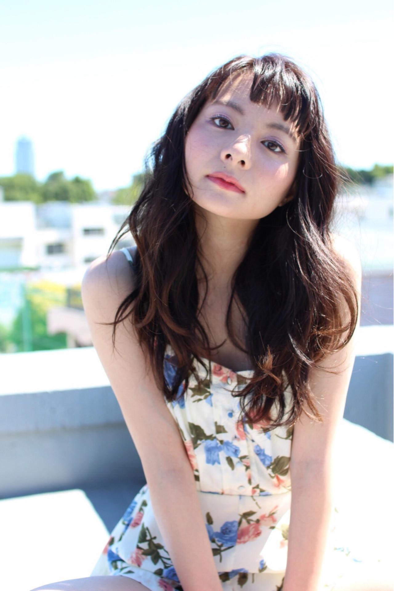 前髪あり 黒髪 ゆるふわ ロング ヘアスタイルや髪型の写真・画像 | 悠 (haruka) /