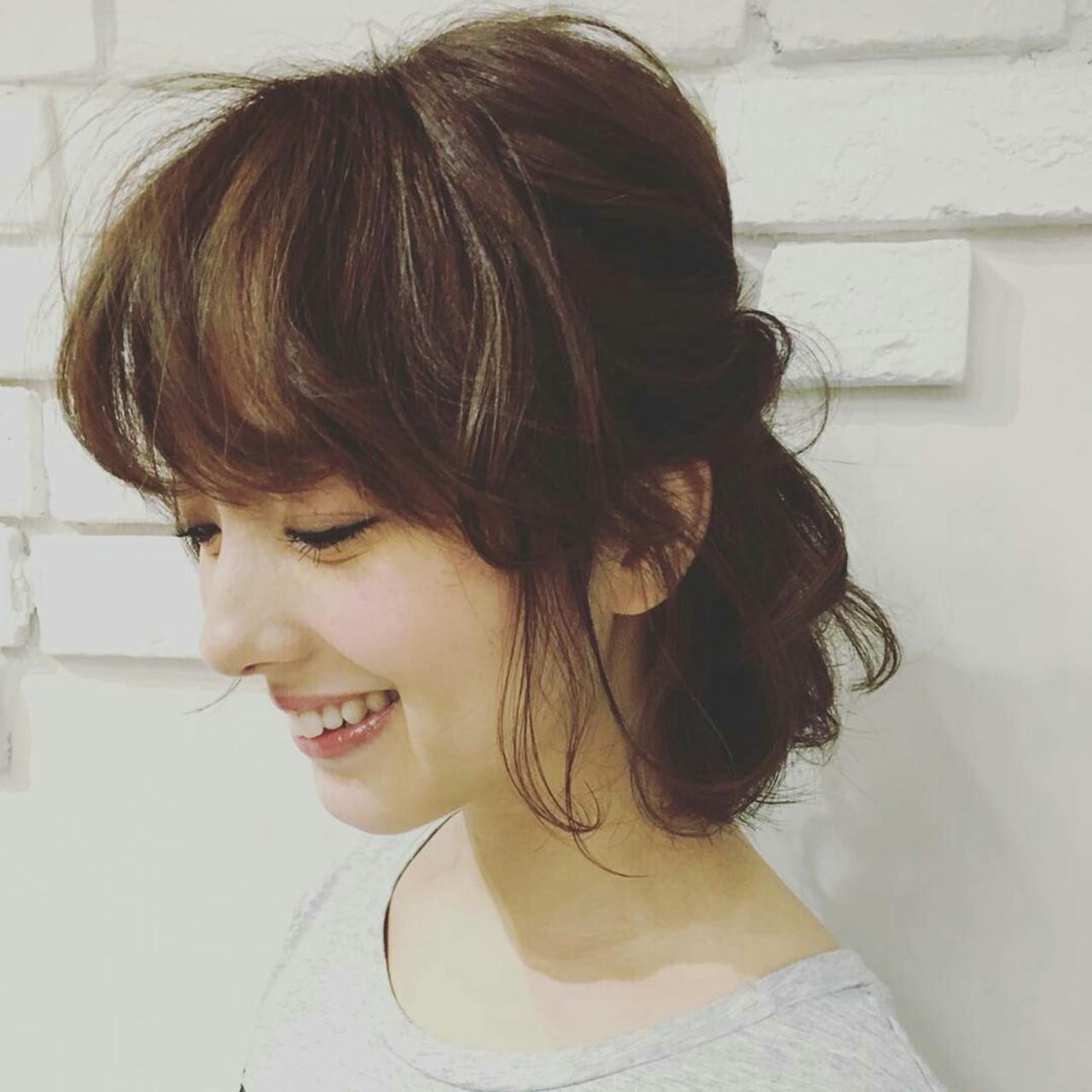フェミニン ヘアアレンジ 大人かわいい ねじり ヘアスタイルや髪型の写真・画像 | asuka /