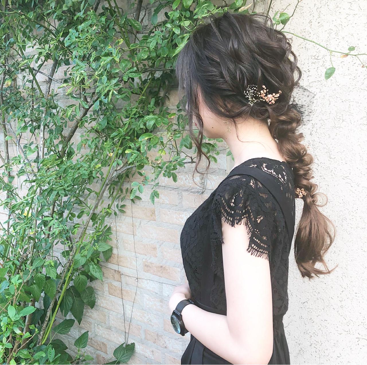 エレガント 編み込み 大人かわいい デート ヘアスタイルや髪型の写真・画像
