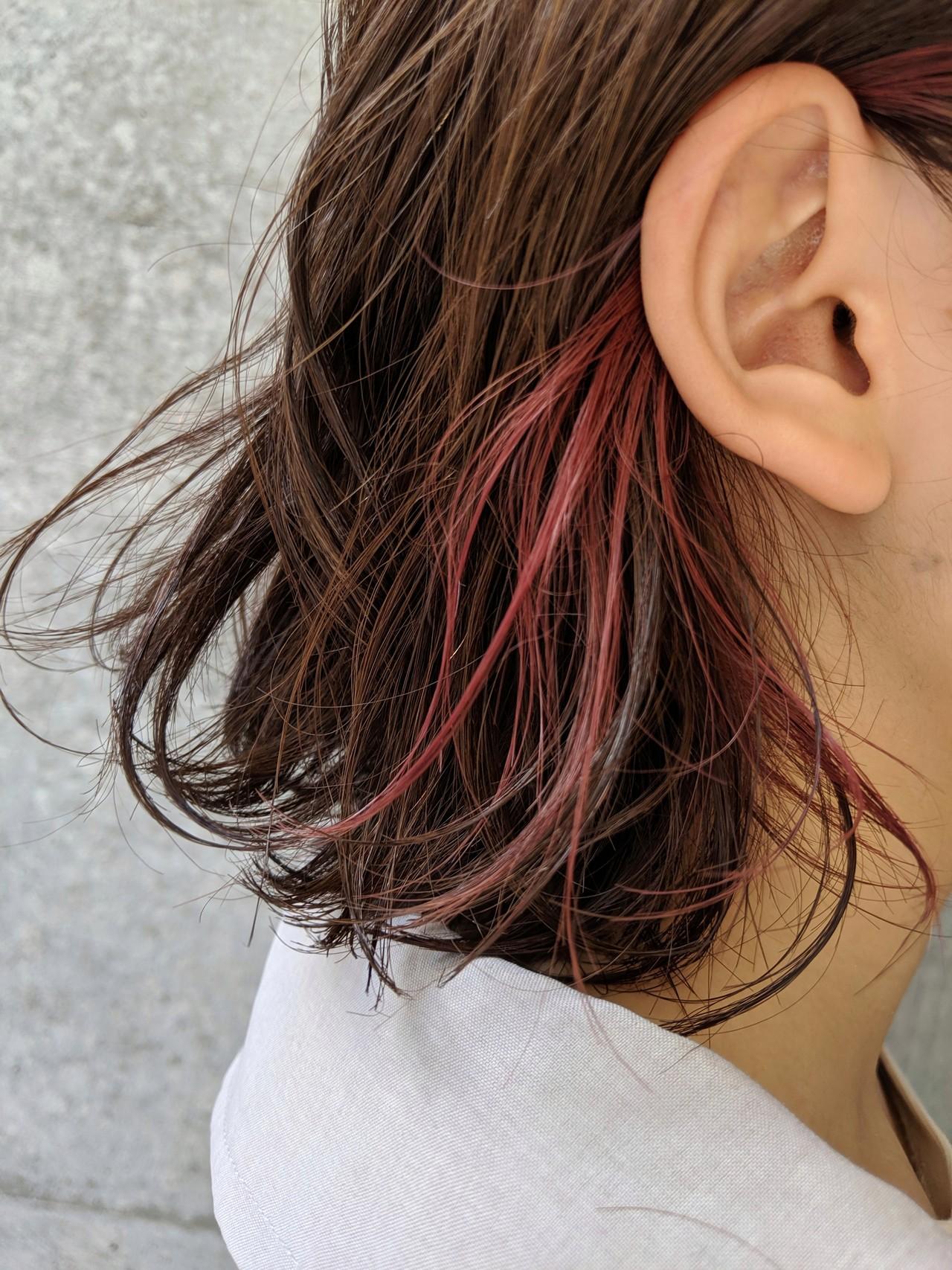 ピンク 切りっぱなしボブ チェリーピンク ボブ ヘアスタイルや髪型の写真・画像