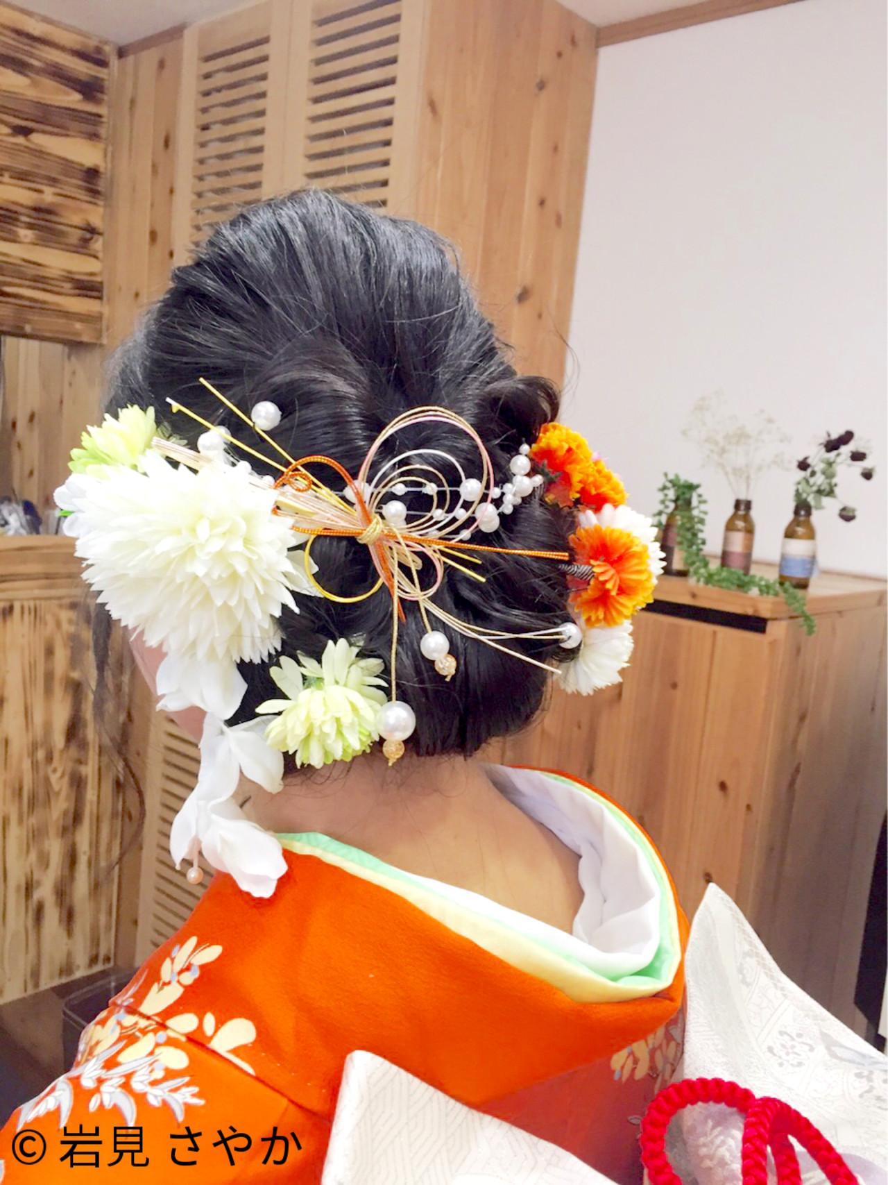 アップスタイル 振袖 セミロング ヘアアレンジ ヘアスタイルや髪型の写真・画像 | 岩見 さやか / hairsalon   mino