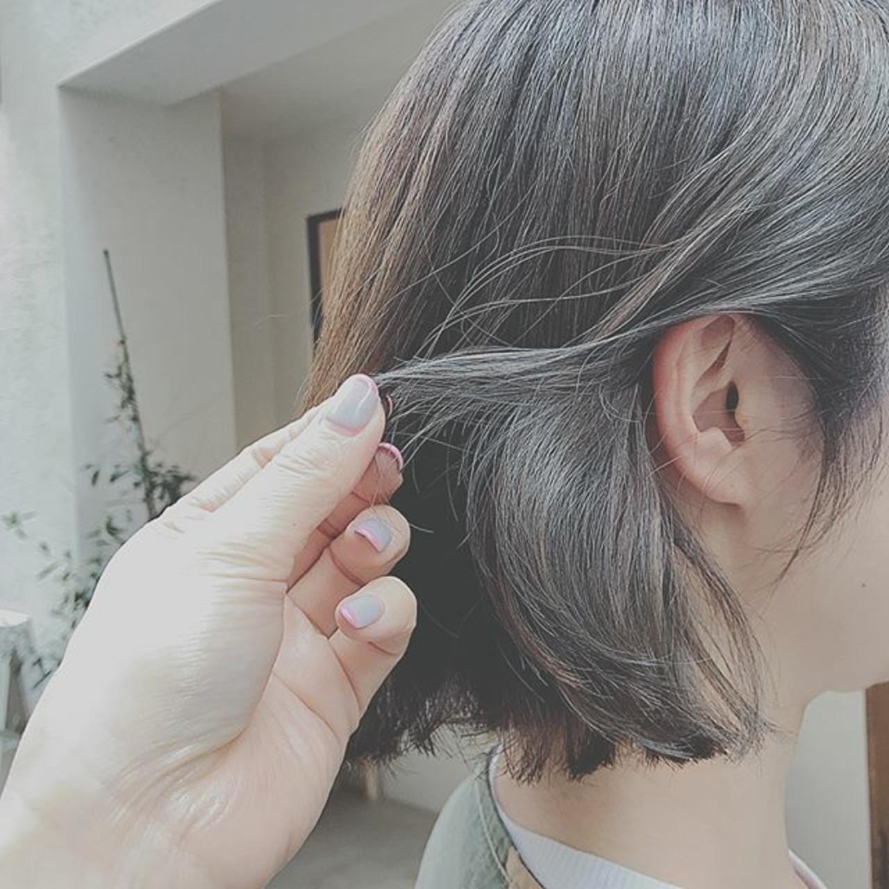 デート 大人かわいい アウトドア ボブ ヘアスタイルや髪型の写真・画像 | 浦川由起江 / nanon