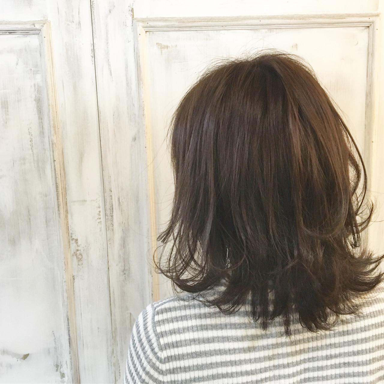 ニュアンス ミディアム ワンカール 外ハネ ヘアスタイルや髪型の写真・画像