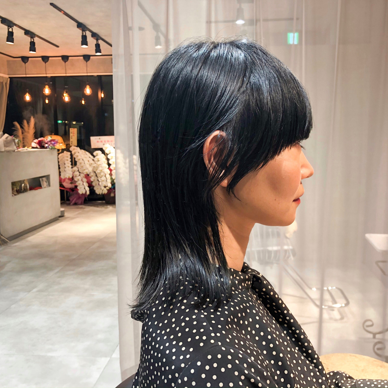 かっこいい ブルーブラック ミディアム 外ハネ ヘアスタイルや髪型の写真・画像 | 加山 暸汰 / till