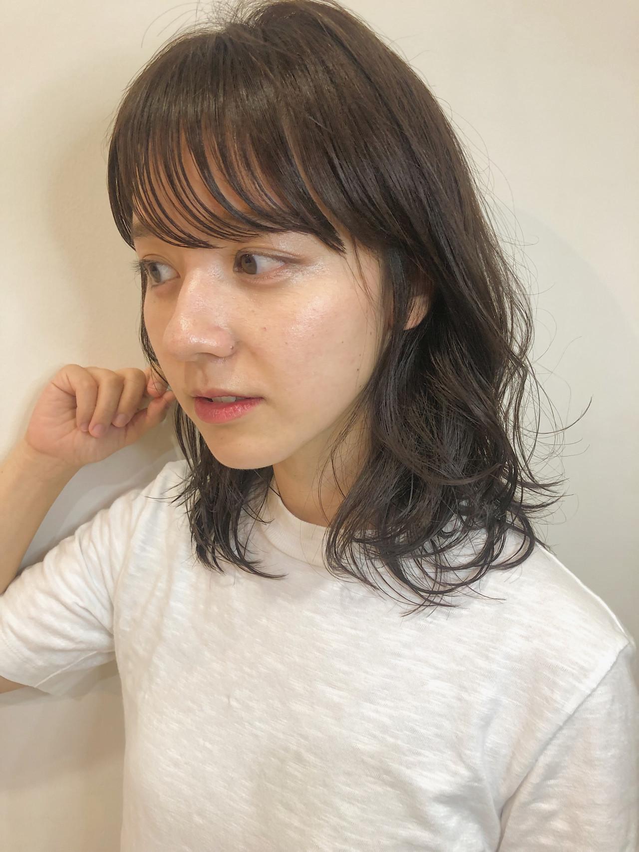 デート ナチュラル ヘアアレンジ ミディアム ヘアスタイルや髪型の写真・画像