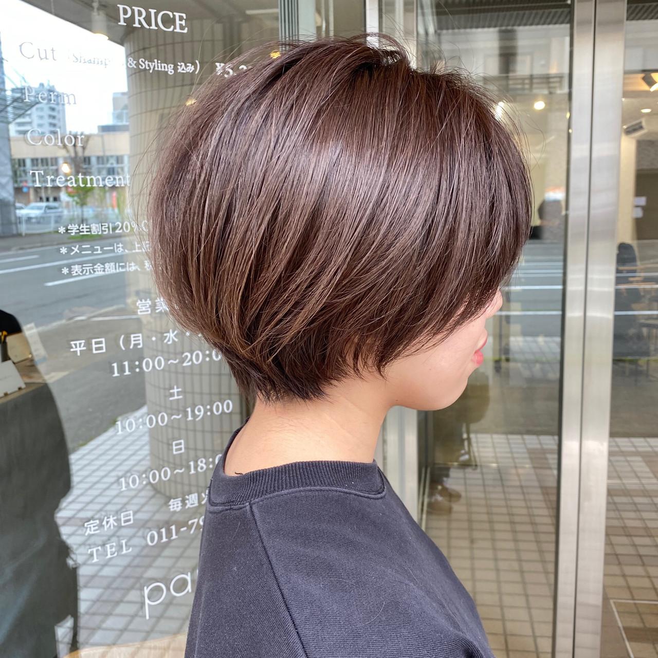 ナチュラル 大人ショート アンニュイ ショートボブ ヘアスタイルや髪型の写真・画像 | 【ショート&ショートボブはお任せください】淺川聖 / parc sapporo