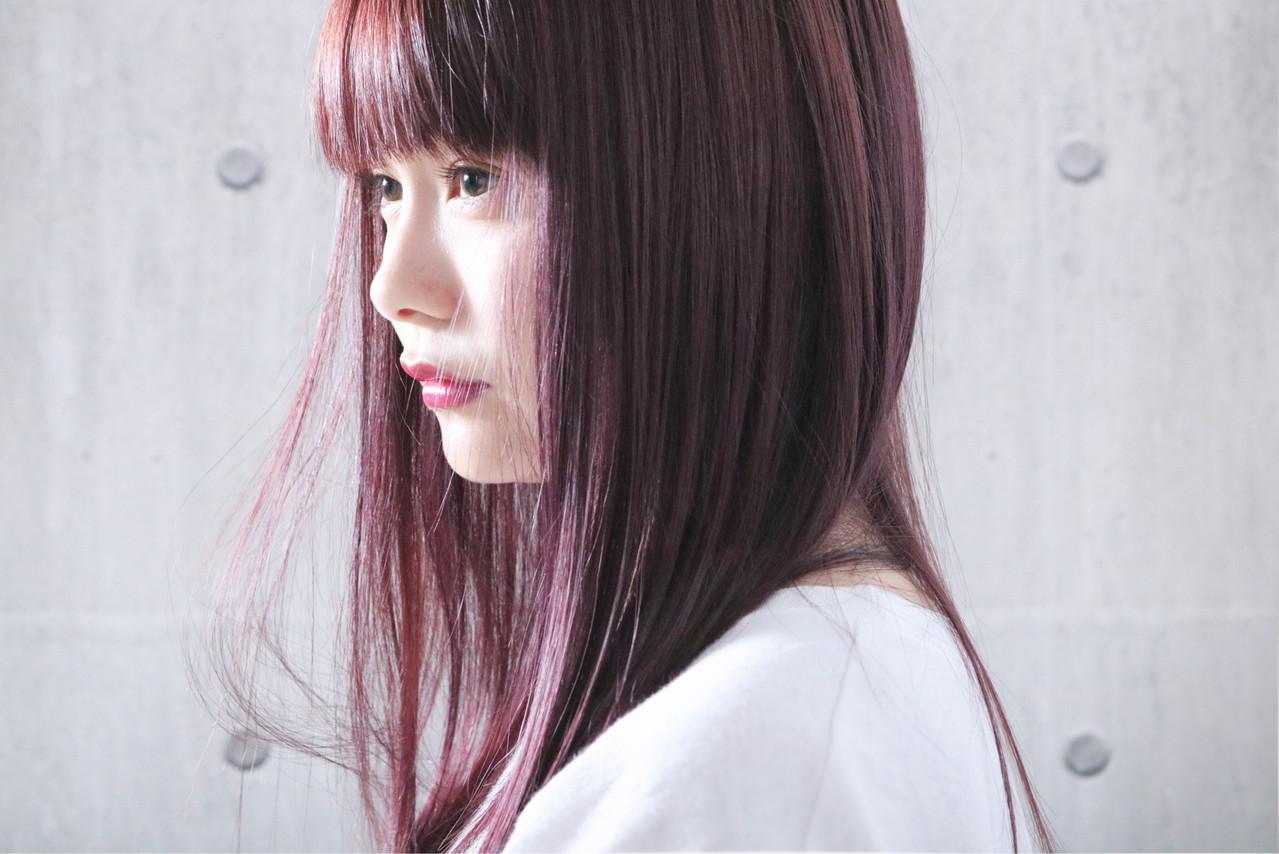 ロング ストレート 大人かわいい ピンクパープル ヘアスタイルや髪型の写真・画像