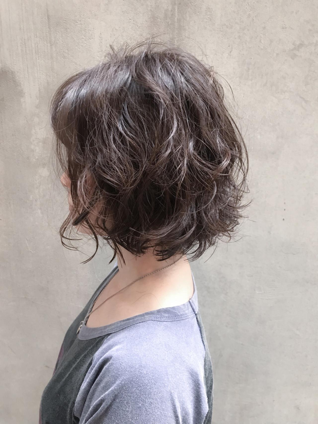 ボブ ナチュラル パーマ ショートボブ ヘアスタイルや髪型の写真・画像
