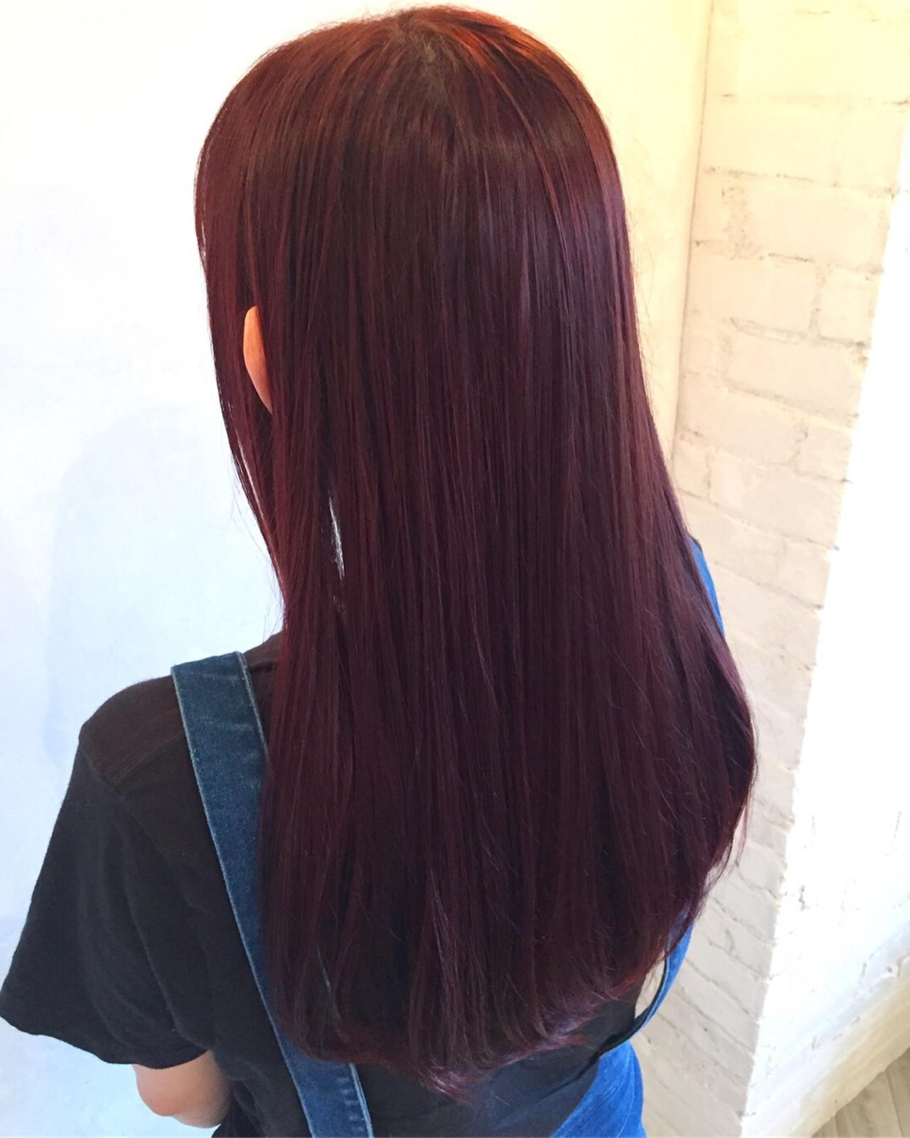 ロング ベリーピンク ベージュ デート ヘアスタイルや髪型の写真・画像