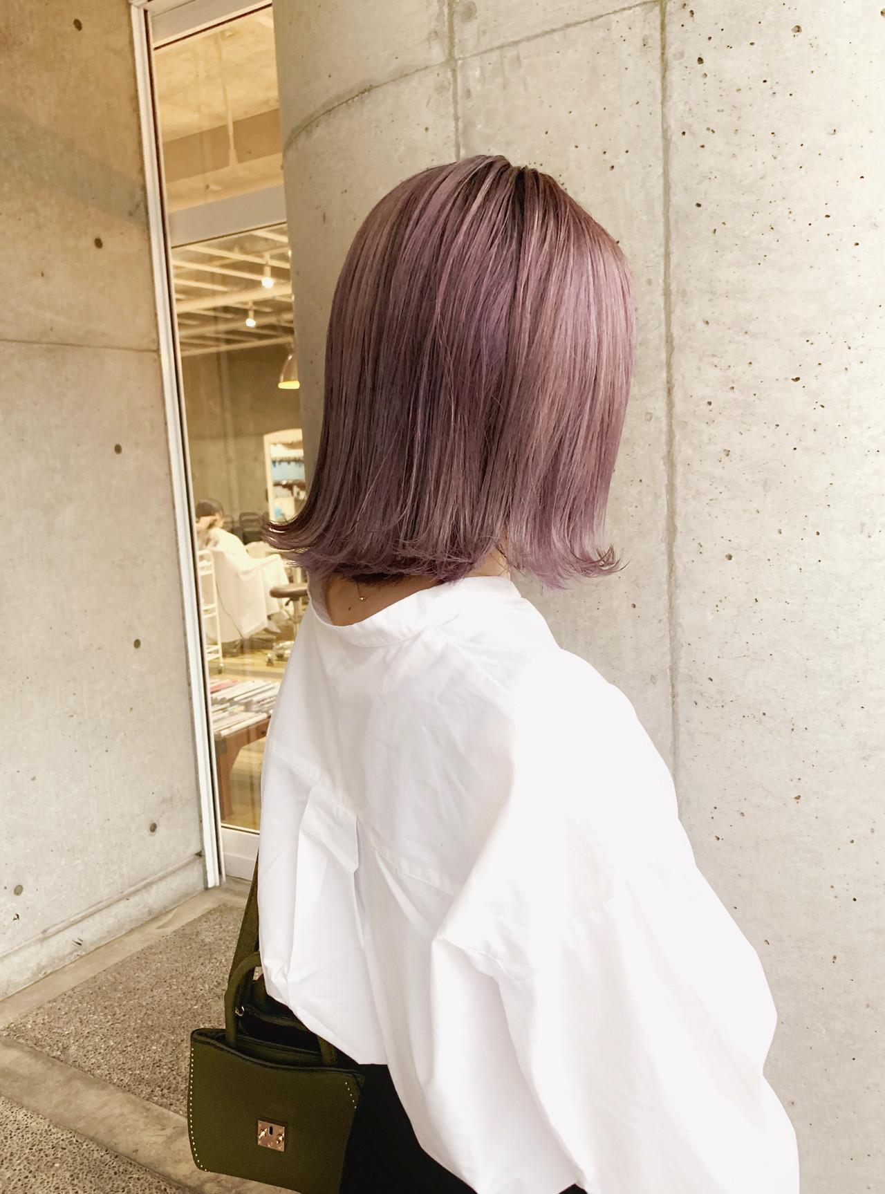 ラベンダーピンク ピンクラベンダー ブリーチ必須 透明感カラー ヘアスタイルや髪型の写真・画像