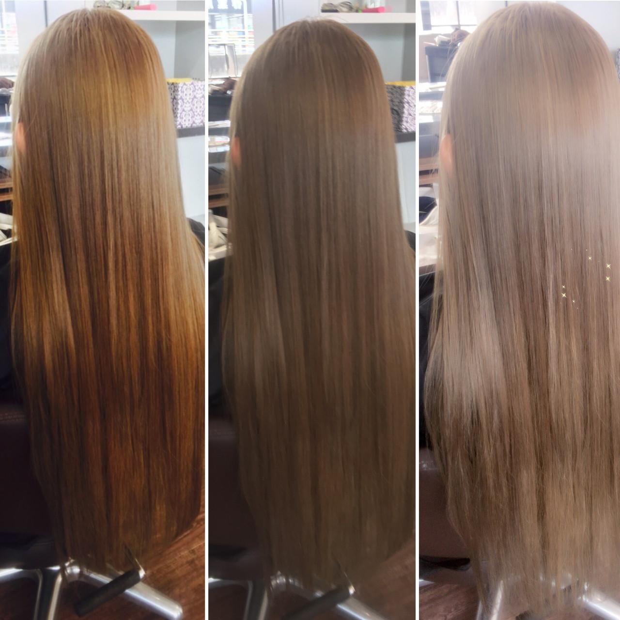 ロング アッシュグレージュ ストリート ブリーチ ヘアスタイルや髪型の写真・画像   エイ / aime