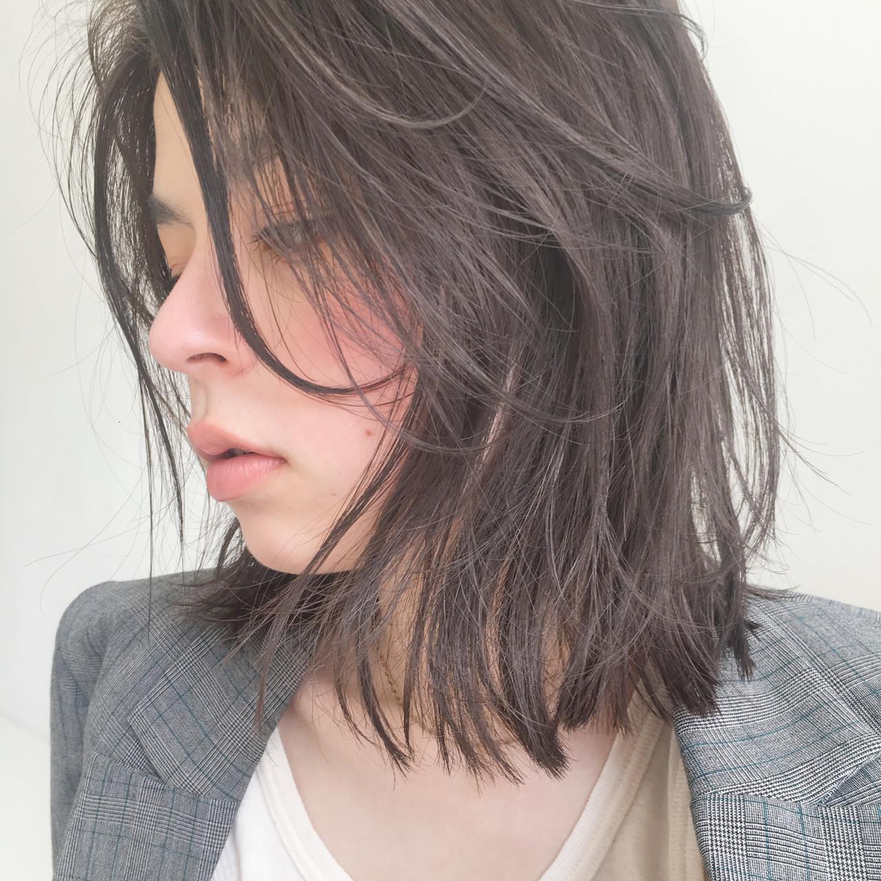 モード ロブ ミディアム 透明感 ヘアスタイルや髪型の写真・画像