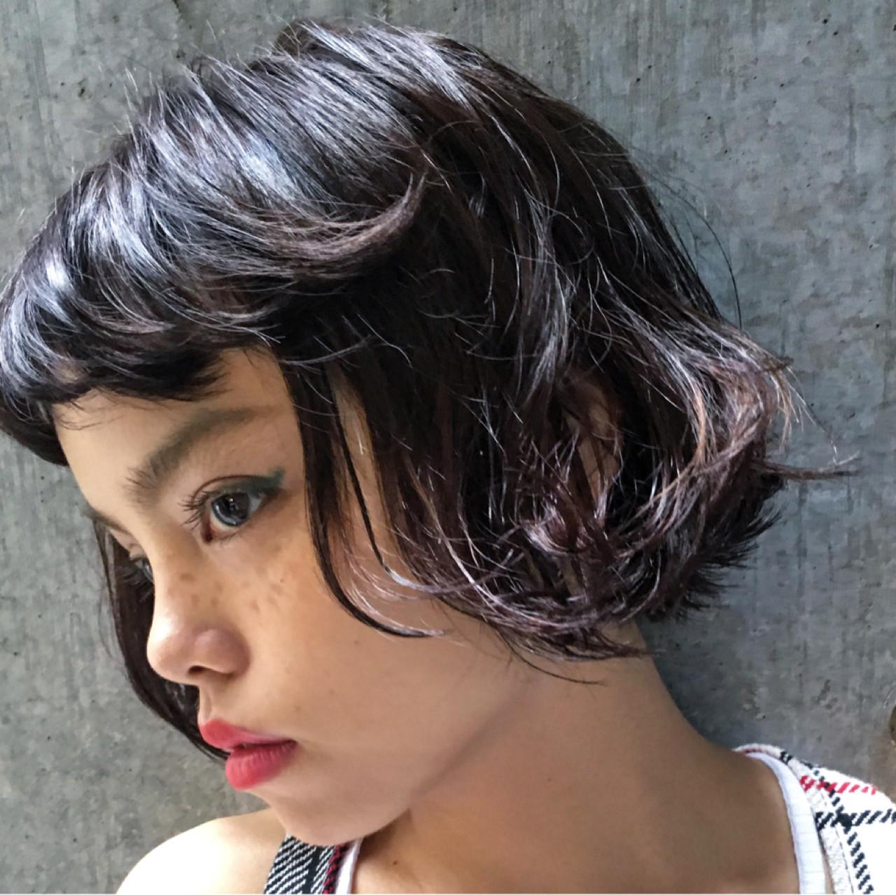 ナチュラル ボブ 黒髪 外国人風 ヘアスタイルや髪型の写真・画像 | Sachiko Handa / assort