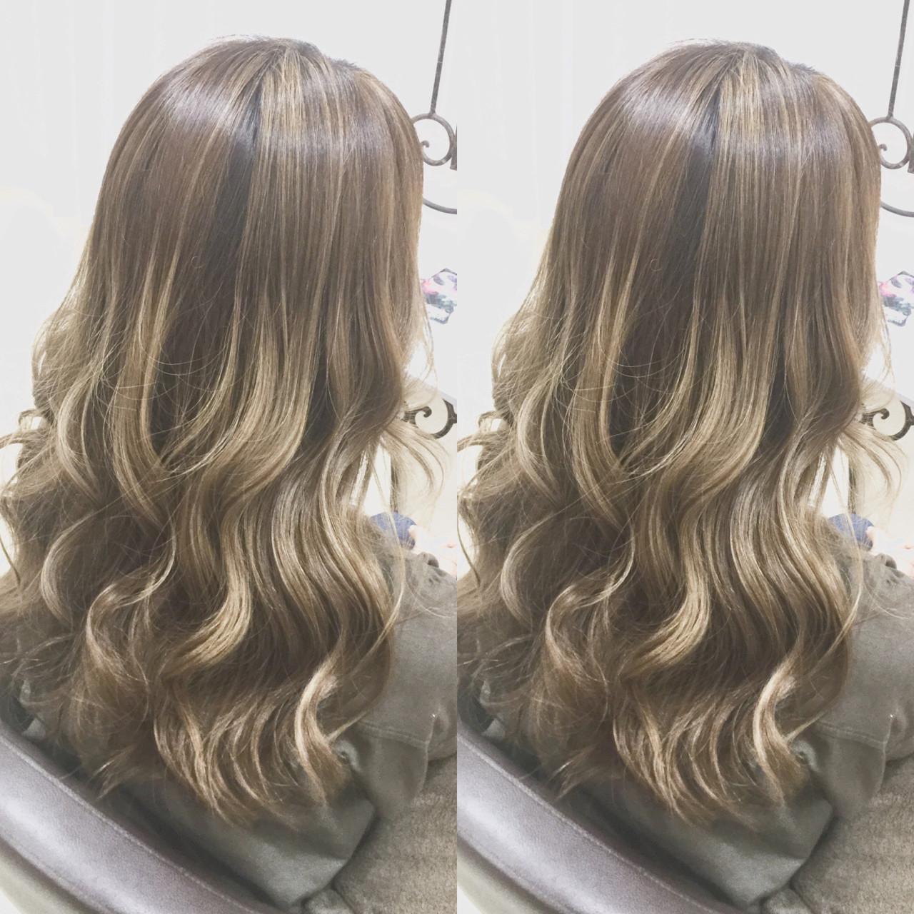 グラデーションカラー 外国人風カラー ハイライト ロング ヘアスタイルや髪型の写真・画像