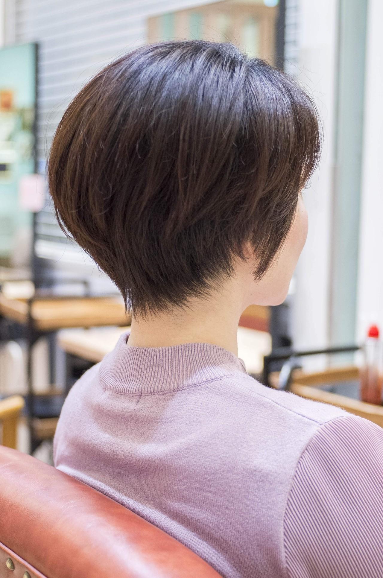 ハンサムショート 大人かわいい ショートヘア ショートボブ ヘアスタイルや髪型の写真・画像