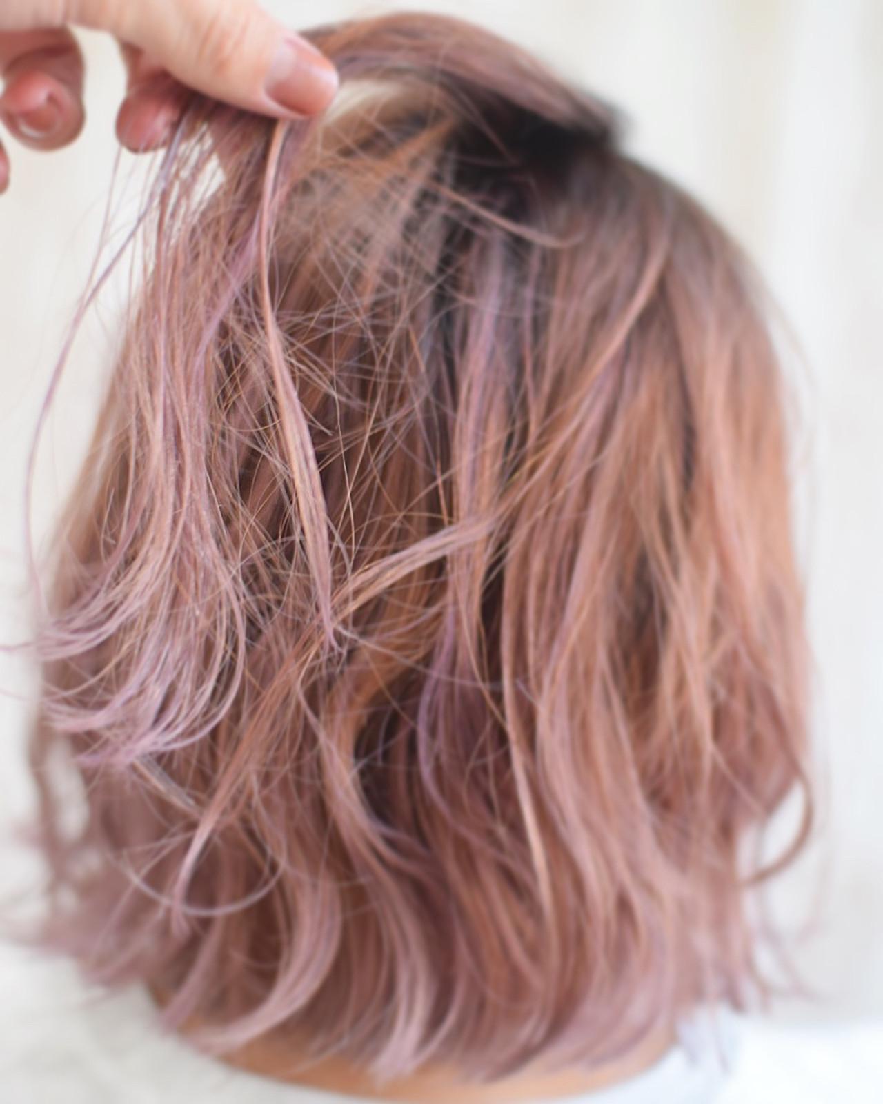 ラズベリーピンク ピンクベージュ ピンクバイオレット フェミニン ヘアスタイルや髪型の写真・画像 | 真鍋 龍平 / white.梅田