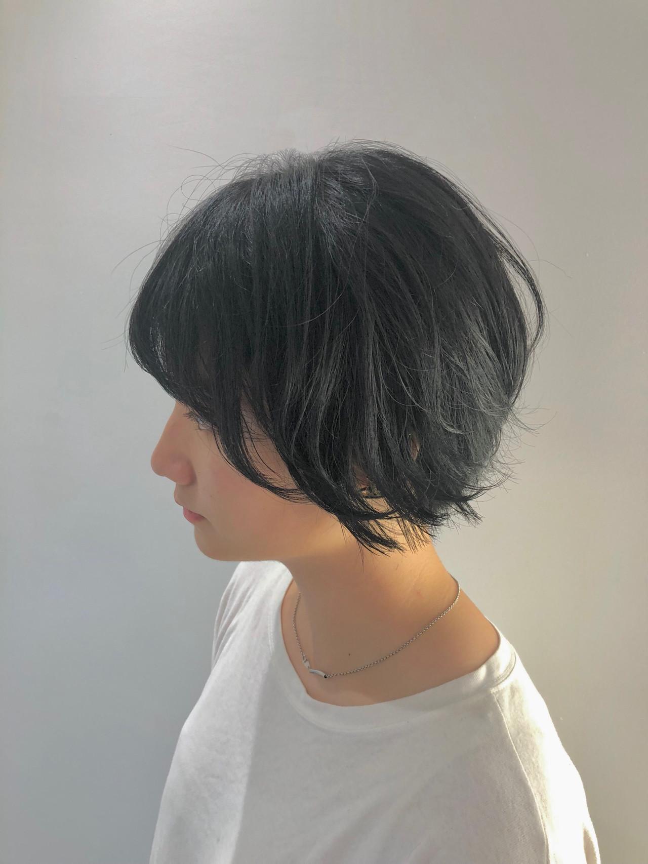 艶カラー ミニボブ ナチュラル ショート ヘアスタイルや髪型の写真・画像