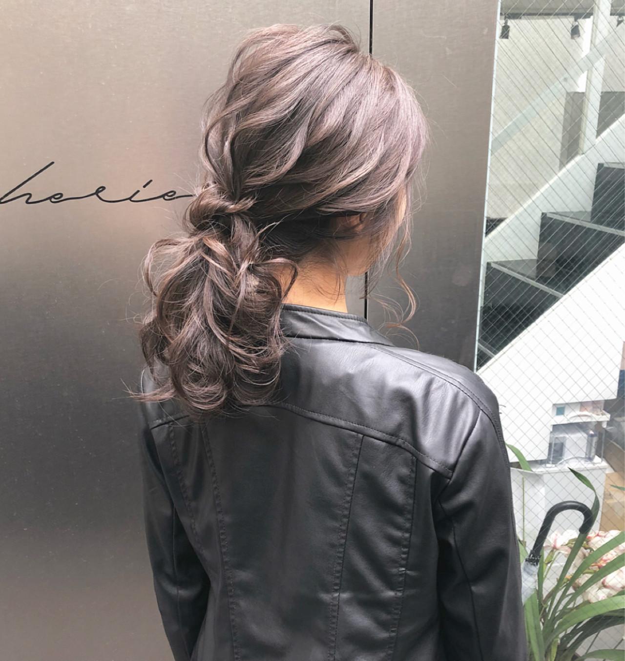 ポニーテール 簡単ヘアアレンジ ロング デート ヘアスタイルや髪型の写真・画像
