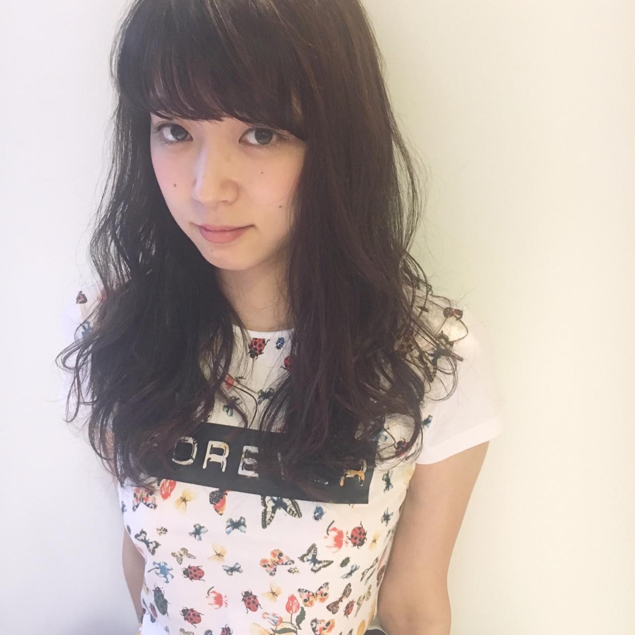 パープル ロング フェミニン 外国人風 ヘアスタイルや髪型の写真・画像 | 岩田 和也 / NOE SALON / NOESALON
