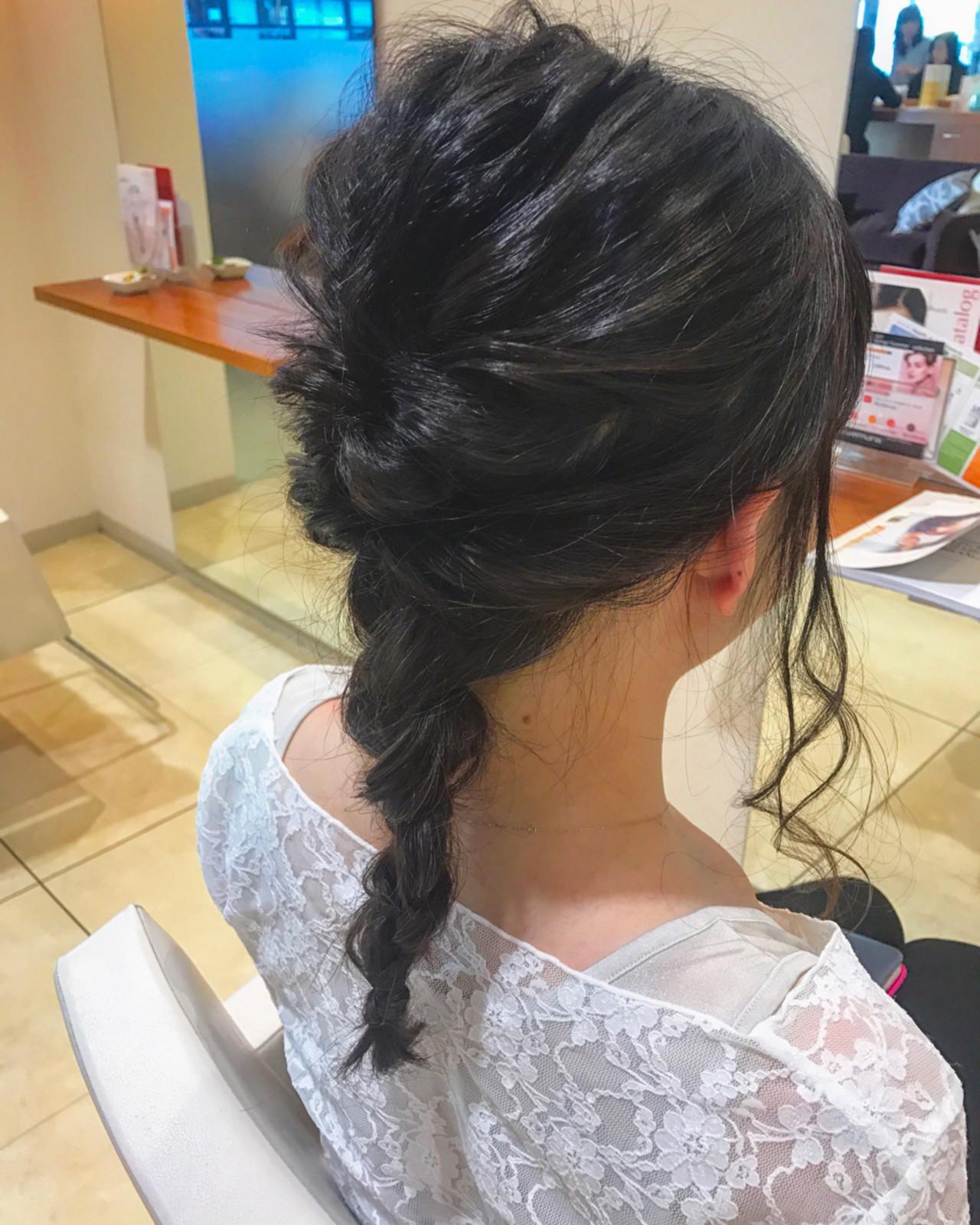 セミロング 結婚式 女子会 ナチュラル ヘアスタイルや髪型の写真・画像