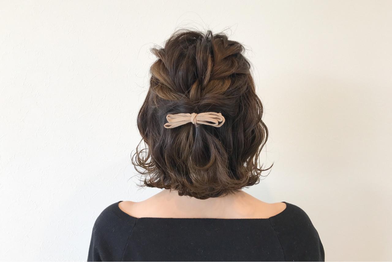 ボブ 編み込み ヘアアレンジ 結婚式 ヘアスタイルや髪型の写真・画像