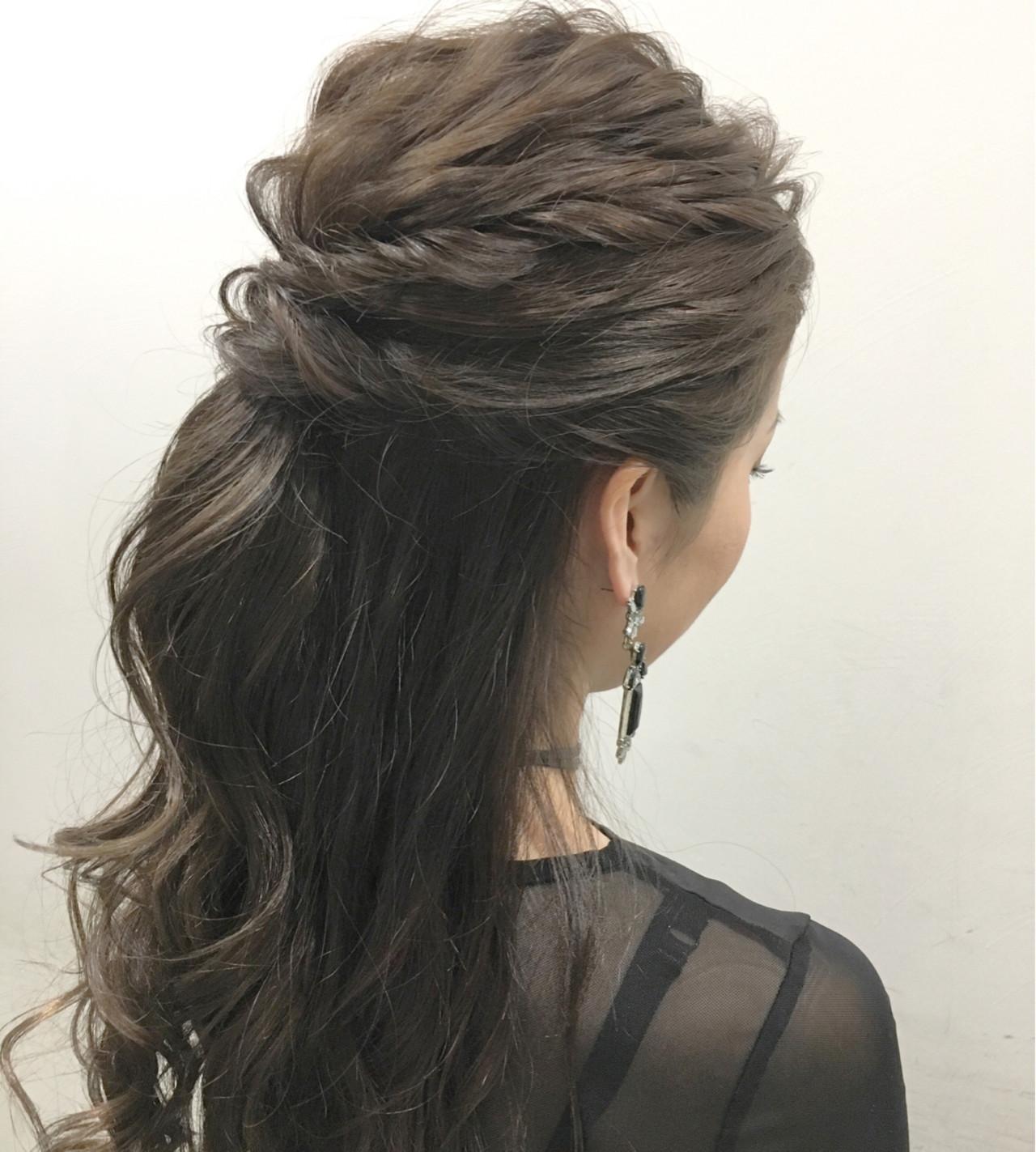 ロング 外国人風 ヘアアレンジ ハーフアップ ヘアスタイルや髪型の写真・画像