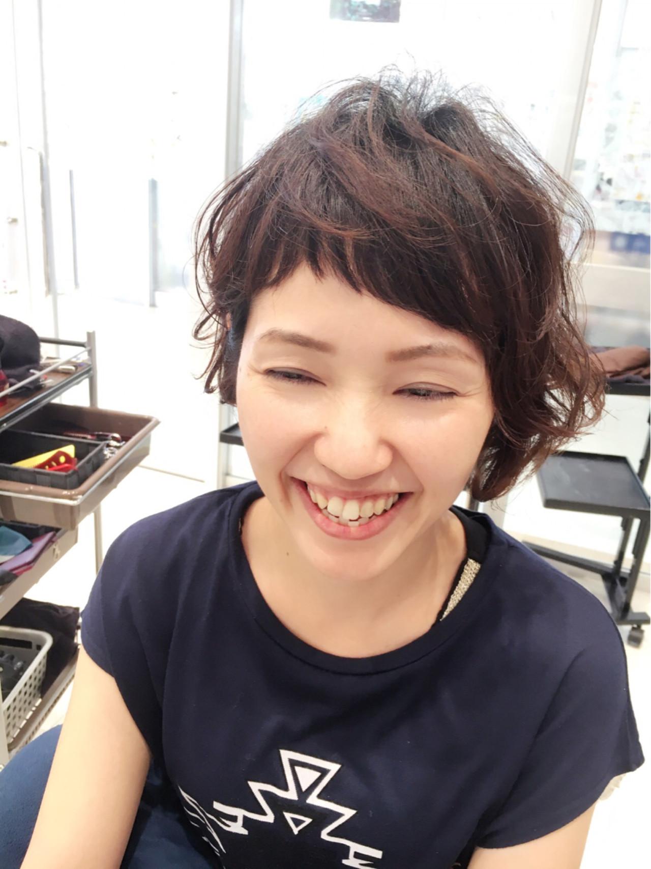 ショートボブ ゆるふわ 大人かわいい ベビーバング ヘアスタイルや髪型の写真・画像 | Yuuta Asato / Moana by HEADLIGHT 沖縄東崎店