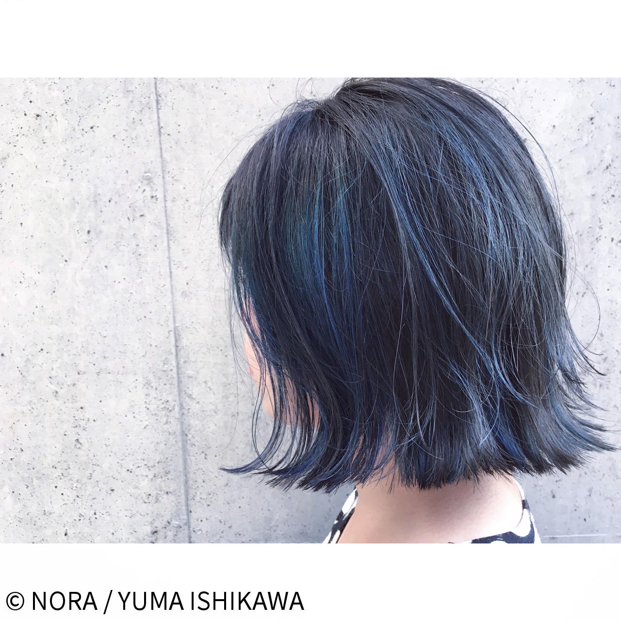 ブルージュ 暗髪 切りっぱなし ストリート ヘアスタイルや髪型の写真・画像 | NORA / YUMA ISHIKAWA / NORA HAIR SALON