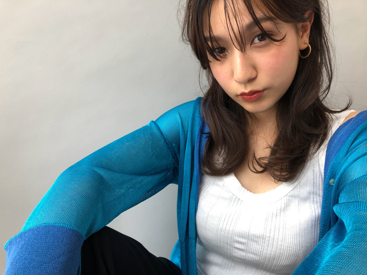 前髪あり シースルーバング レイヤーカット 簡単ヘアアレンジ ヘアスタイルや髪型の写真・画像 | 小走 祥菜 / tricca daikanyama