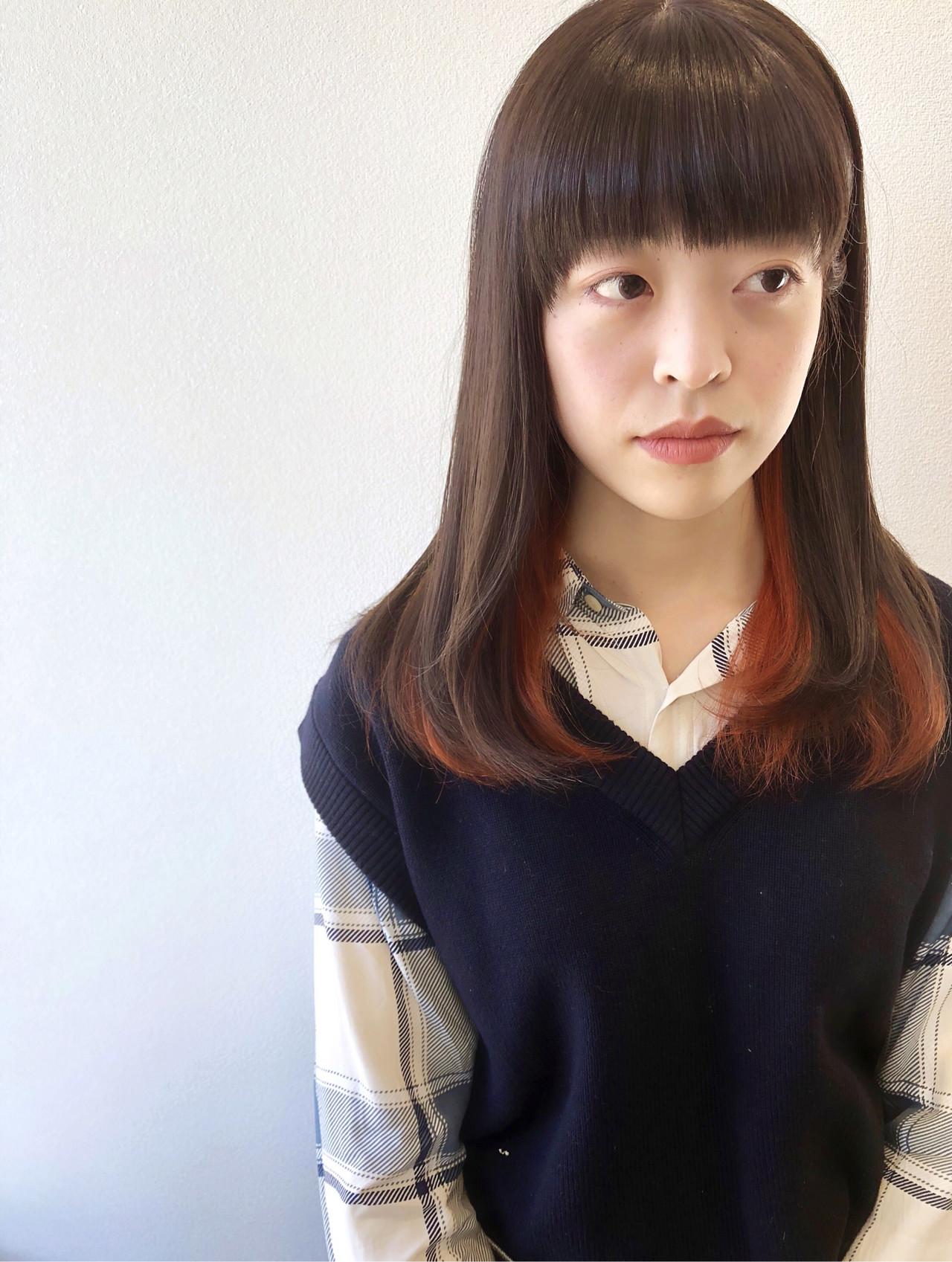 グレージュ インナーカラー ストレート インナーカラーオレンジ ヘアスタイルや髪型の写真・画像 | 田中 祐樹 / Tribute Hair&Nail
