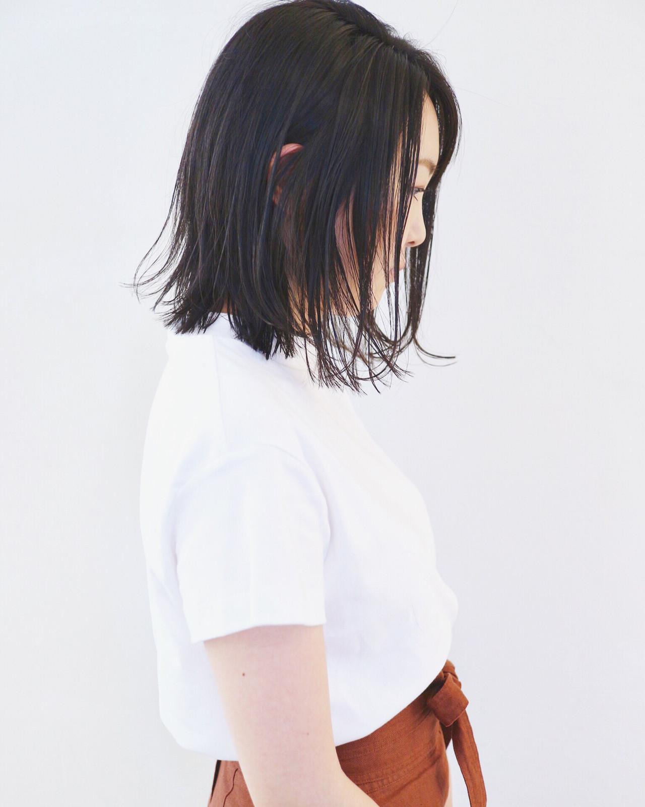 外ハネ 外ハネボブ ウェット感 ボブ ヘアスタイルや髪型の写真・画像