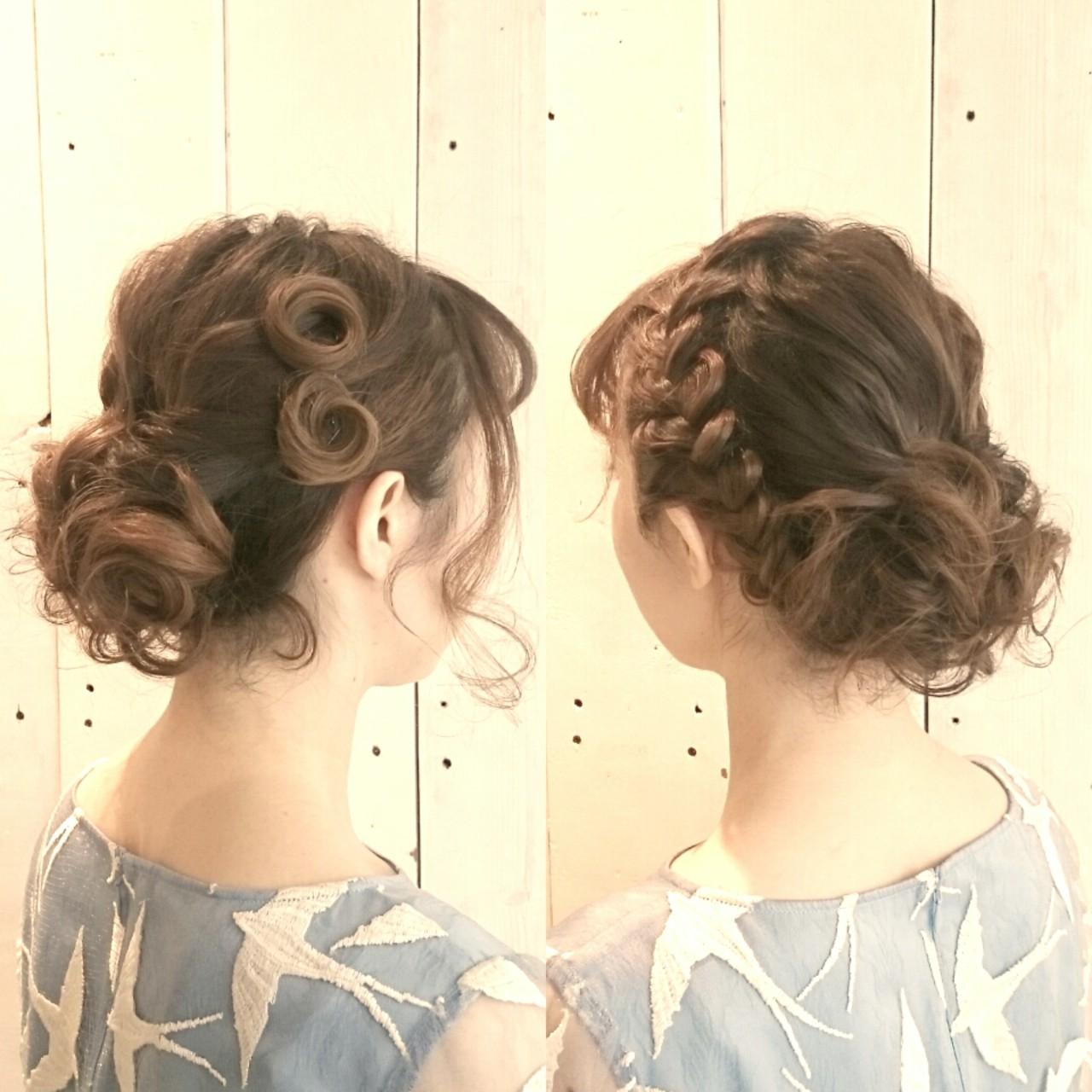 まとめ髪 結婚式 フェミニン ヘアアレンジ ヘアスタイルや髪型の写真・画像   KUMA / hair make PUR