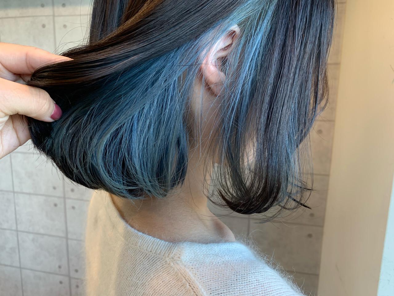 ポイントカラー インナーカラー ガーリー ミニボブ ヘアスタイルや髪型の写真・画像
