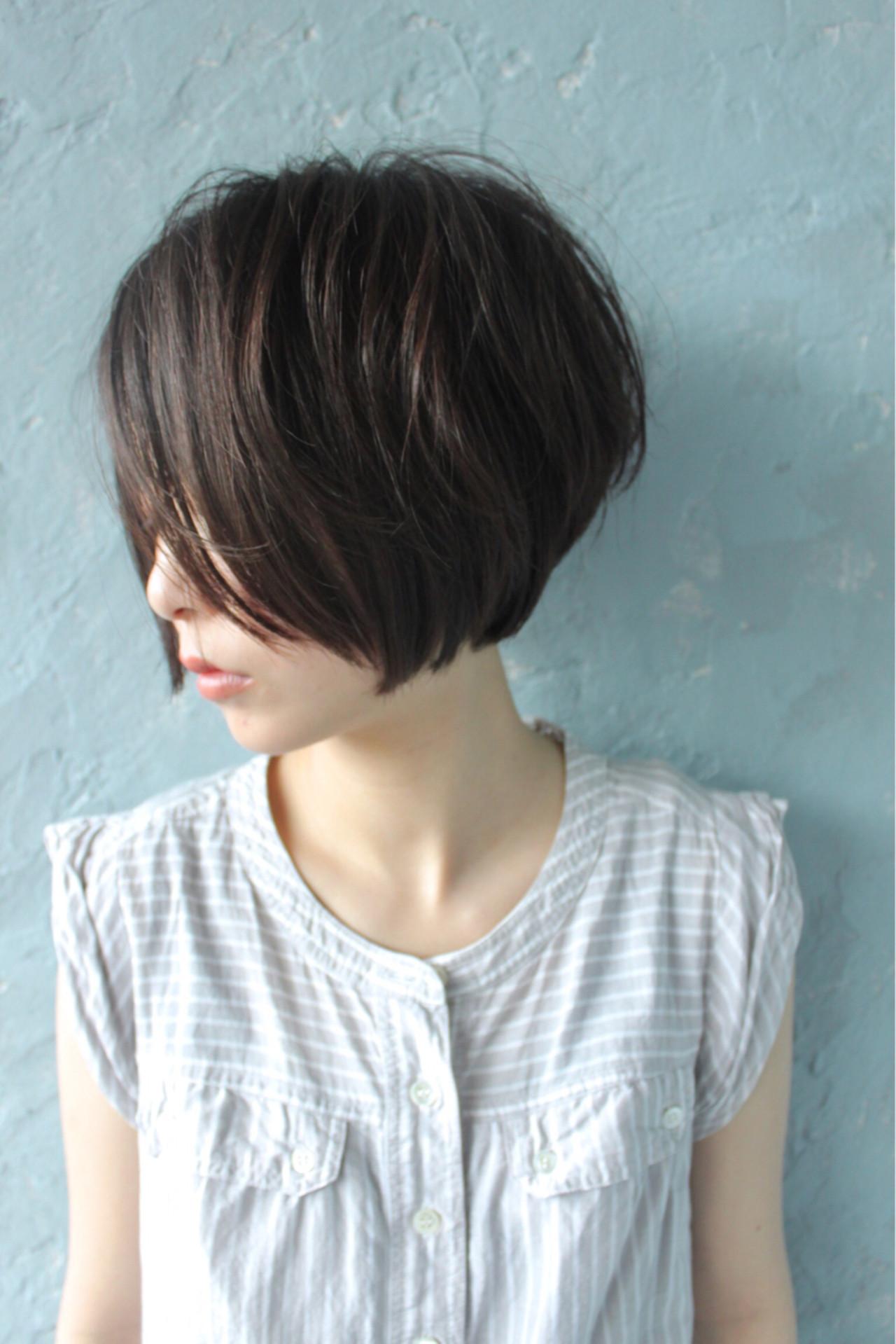 小顔 ショートボブ 似合わせ ボブ ヘアスタイルや髪型の写真・画像 | Salt×okabe / Salt