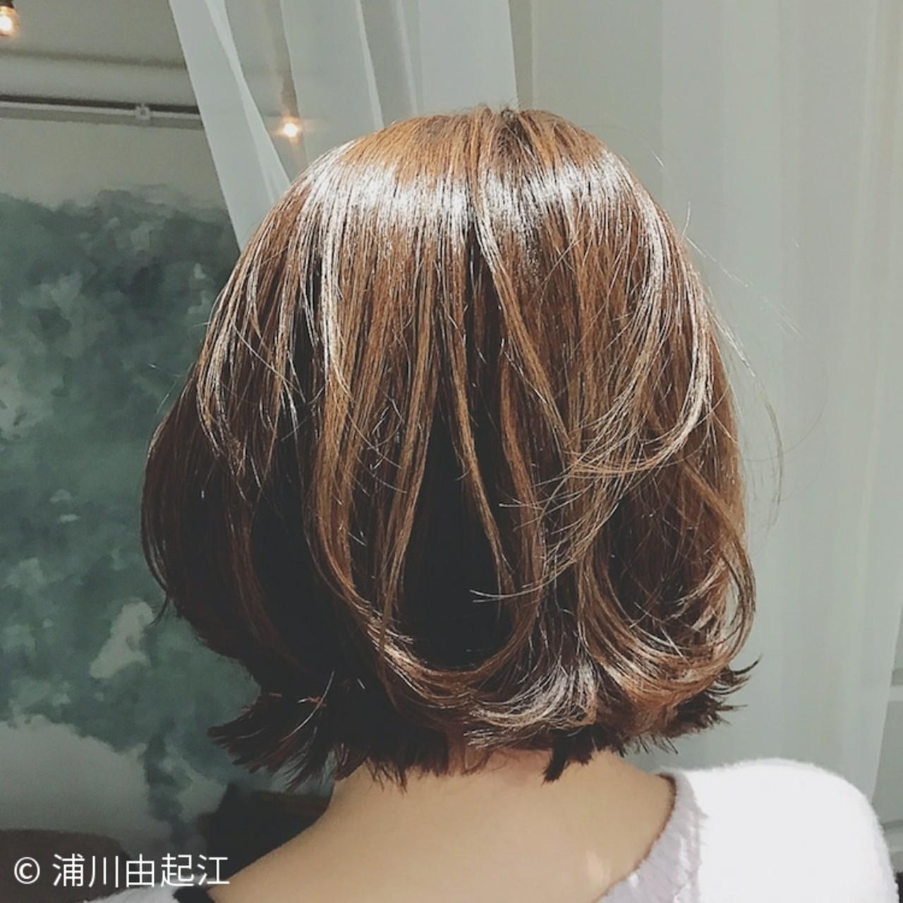 グラデーションカラー デート ボブ フェミニン ヘアスタイルや髪型の写真・画像
