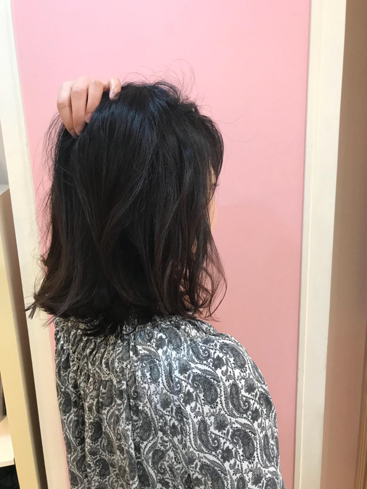 外ハネ 切りっぱなし ロブ デート ヘアスタイルや髪型の写真・画像 | 中村 猛 / MODE K's 塚本店 (モードケイズ)