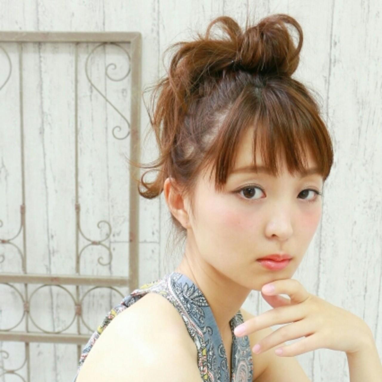 大人かわいい ヘアアレンジ セミロング お団子 ヘアスタイルや髪型の写真・画像