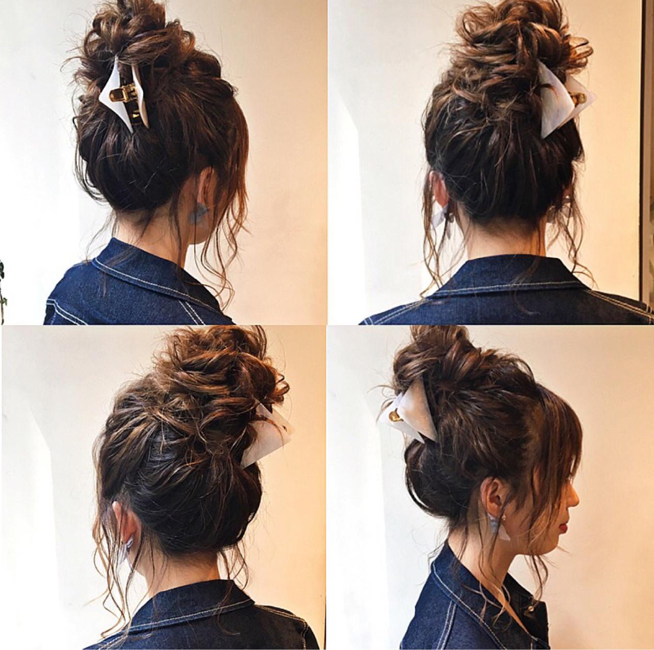 ヘアアレンジ ミディアム 上品 エレガント ヘアスタイルや髪型の写真・画像