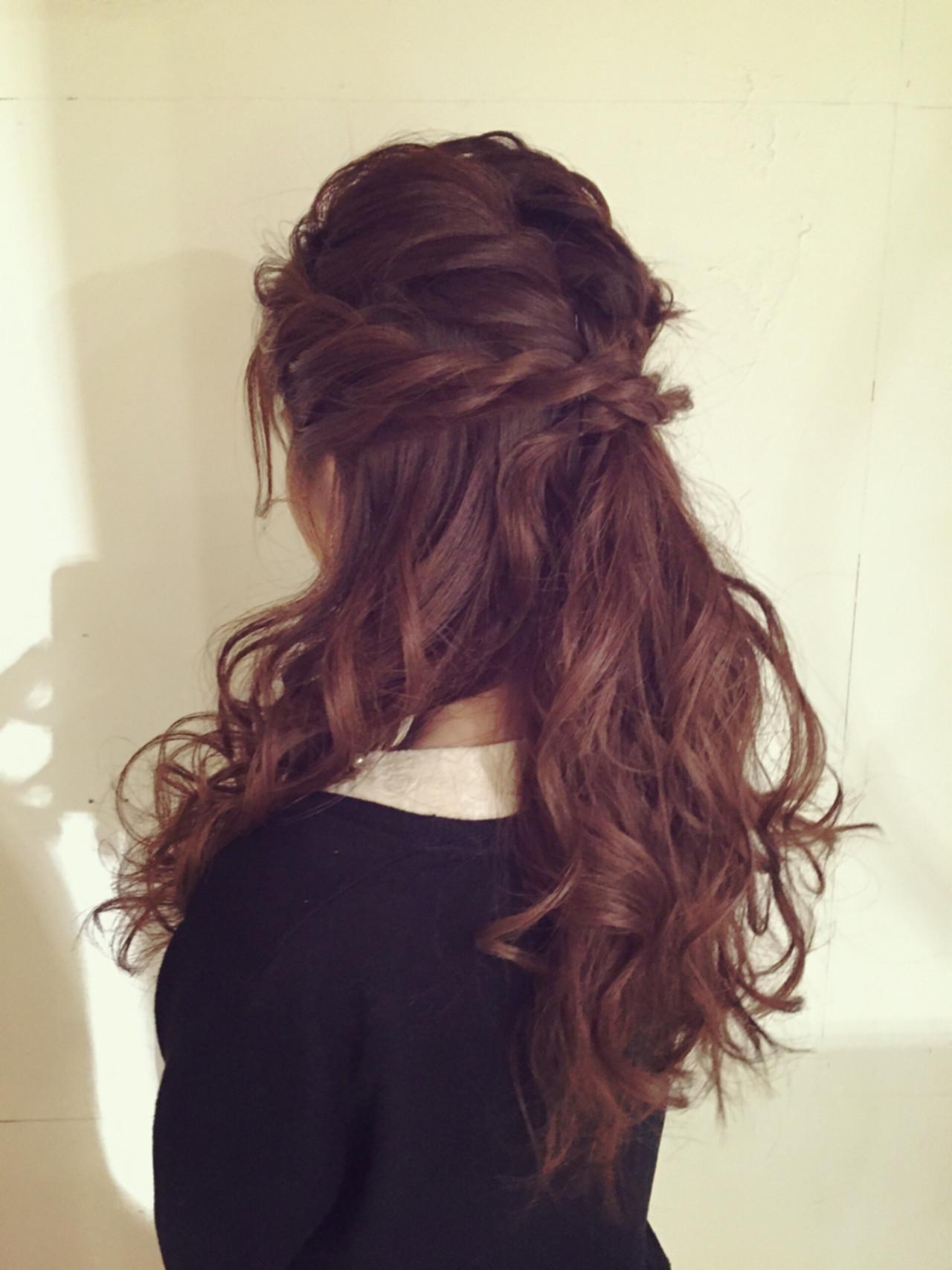 ロング 編み込み 結婚式 ハーフアップ ヘアスタイルや髪型の写真・画像