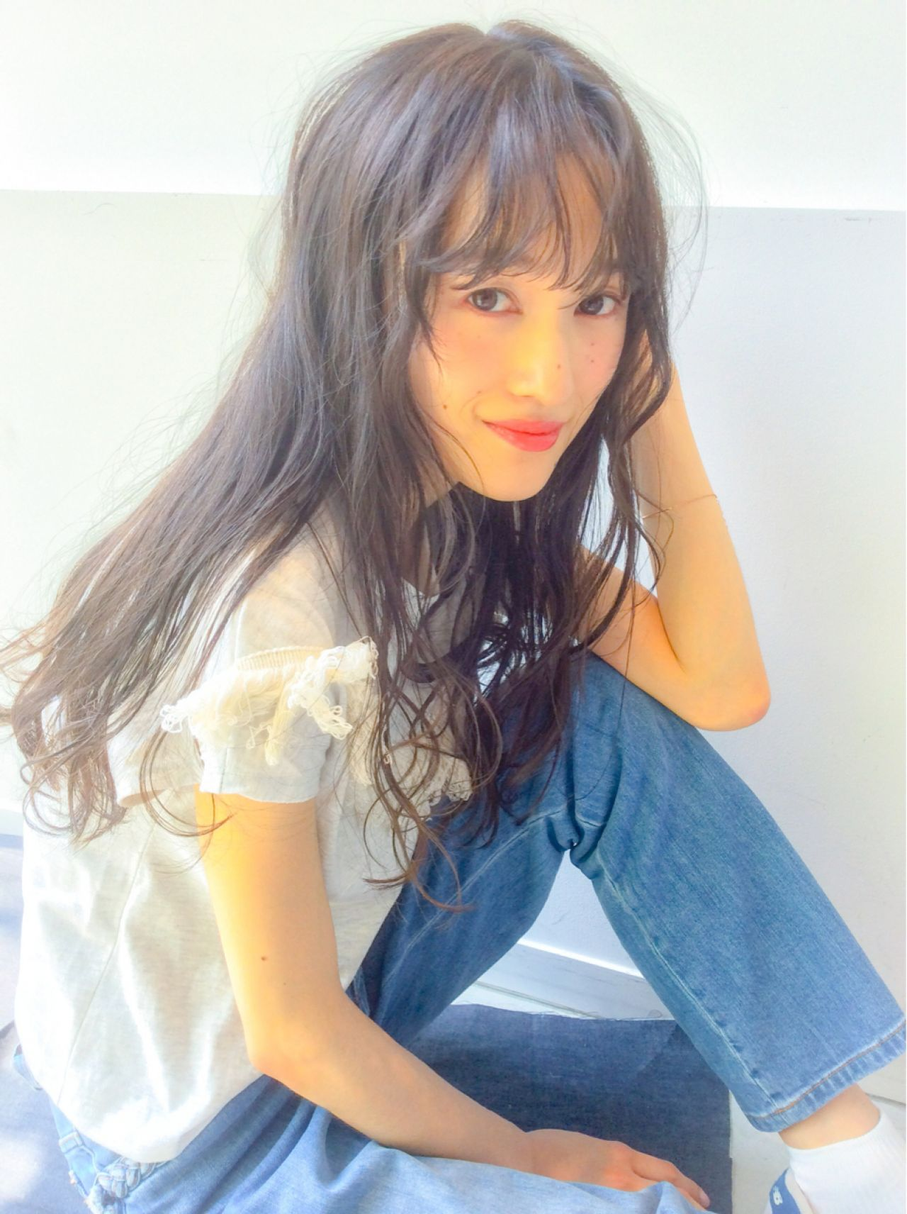 秋 シースルーバング ナチュラル ロング ヘアスタイルや髪型の写真・画像