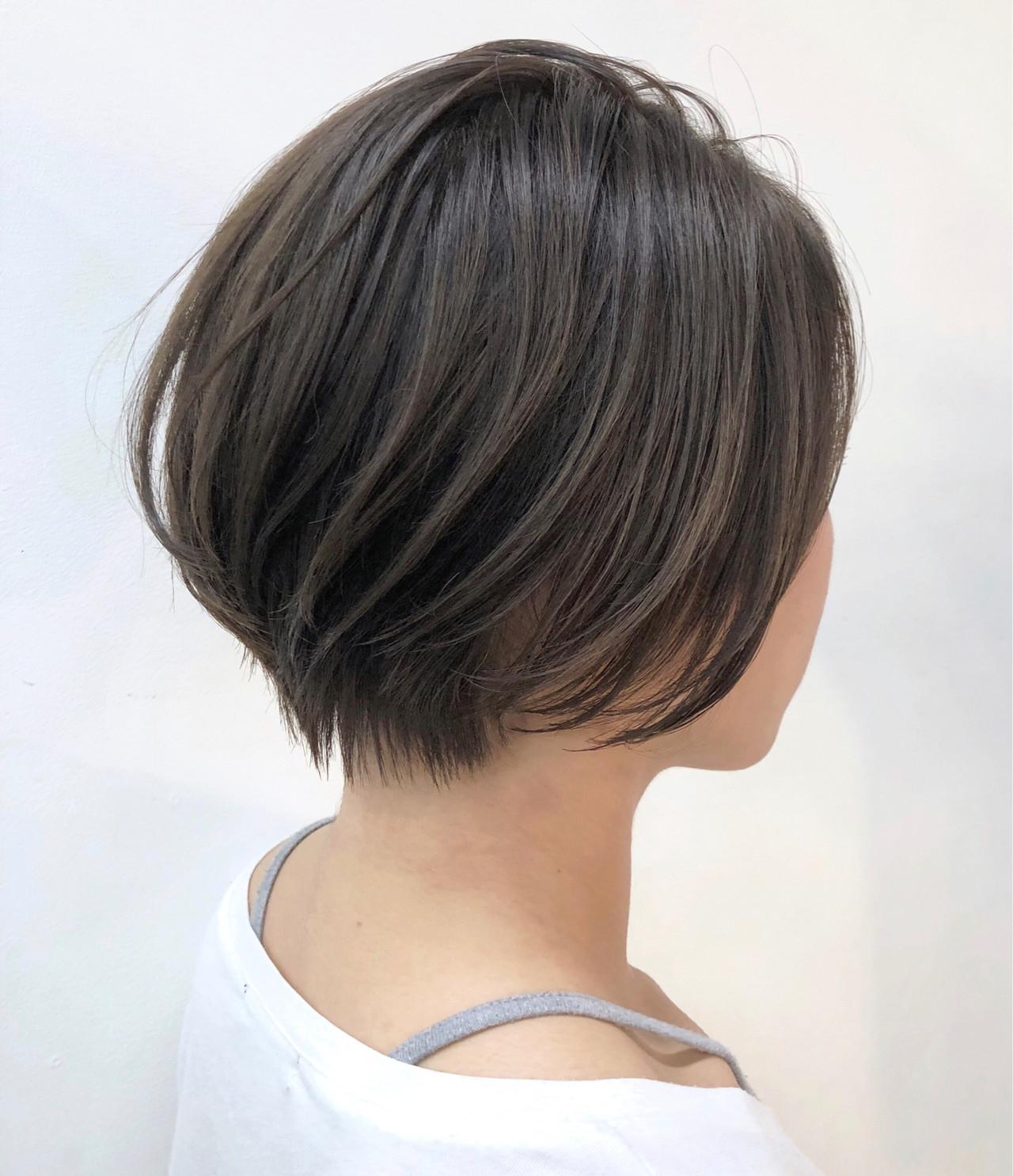小顔ショート ナチュラル ショートボブ ショート ヘアスタイルや髪型の写真・画像