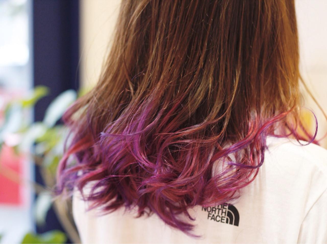 ミディアム グラデーションカラー ストリート ハイトーン ヘアスタイルや髪型の写真・画像