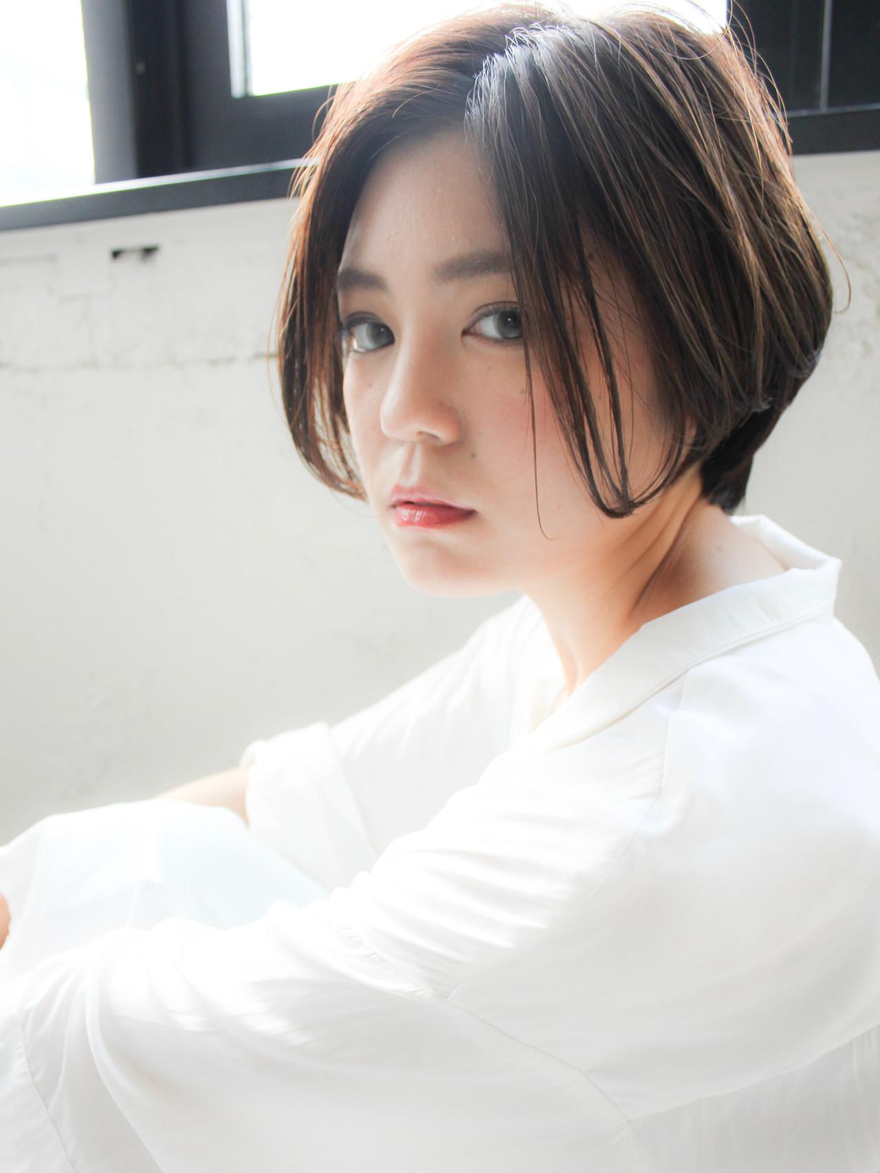 大人可愛い ショートボブ ショコラブラウン ショート ヘアスタイルや髪型の写真・画像 | 原田 実茄 / Agnos 青山
