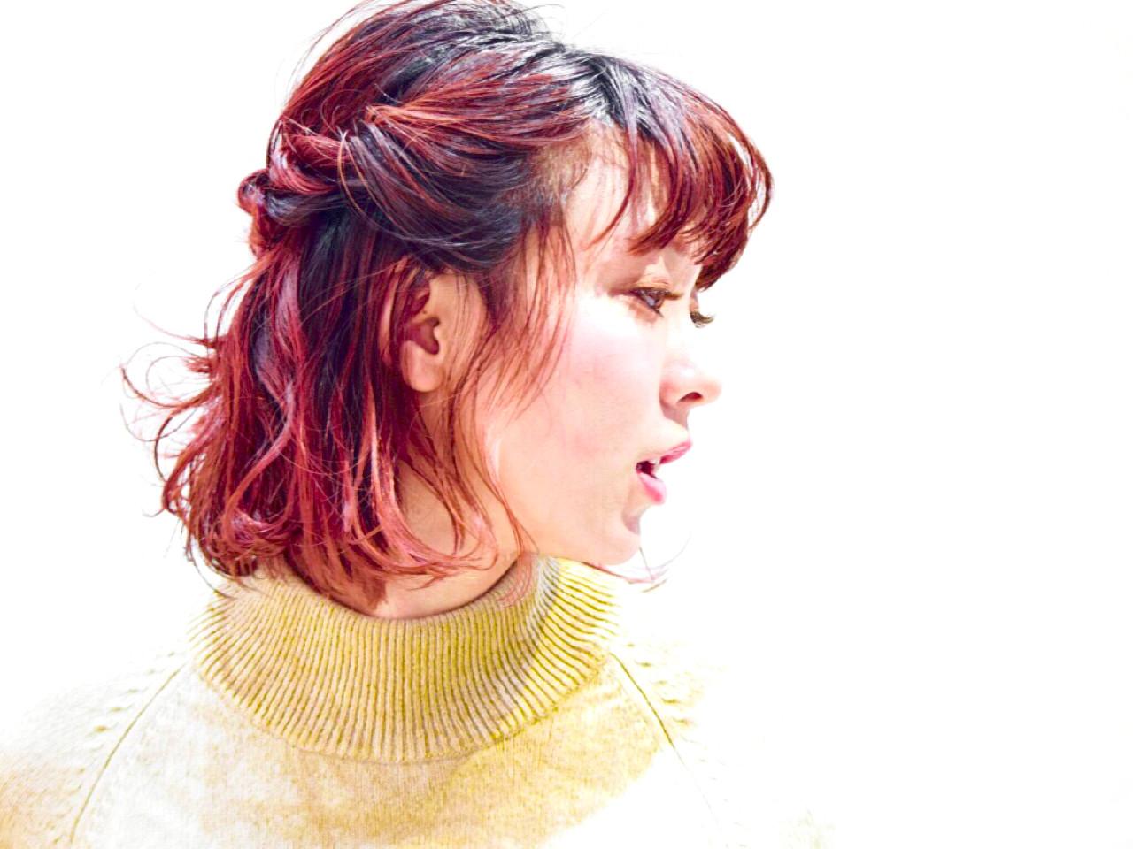 グラデーションカラー ガーリー パーマ ミディアム ヘアスタイルや髪型の写真・画像