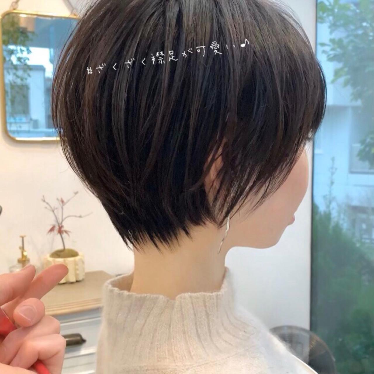 切りっぱなしボブ ショートボブ ショート インナーカラー ヘアスタイルや髪型の写真・画像 | 大上海人 / 『 i. 』omotesando